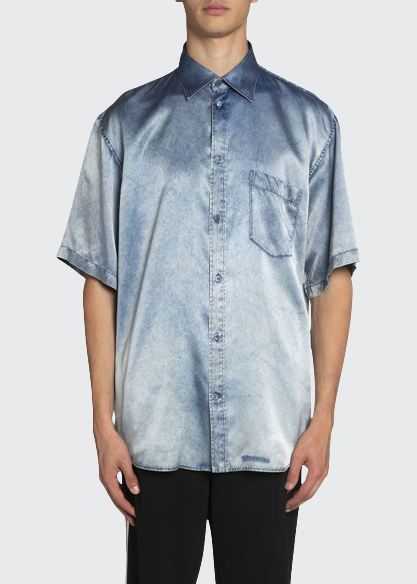 Balenciaga Men's Oversized Denim-Print Satin Sport Shirt