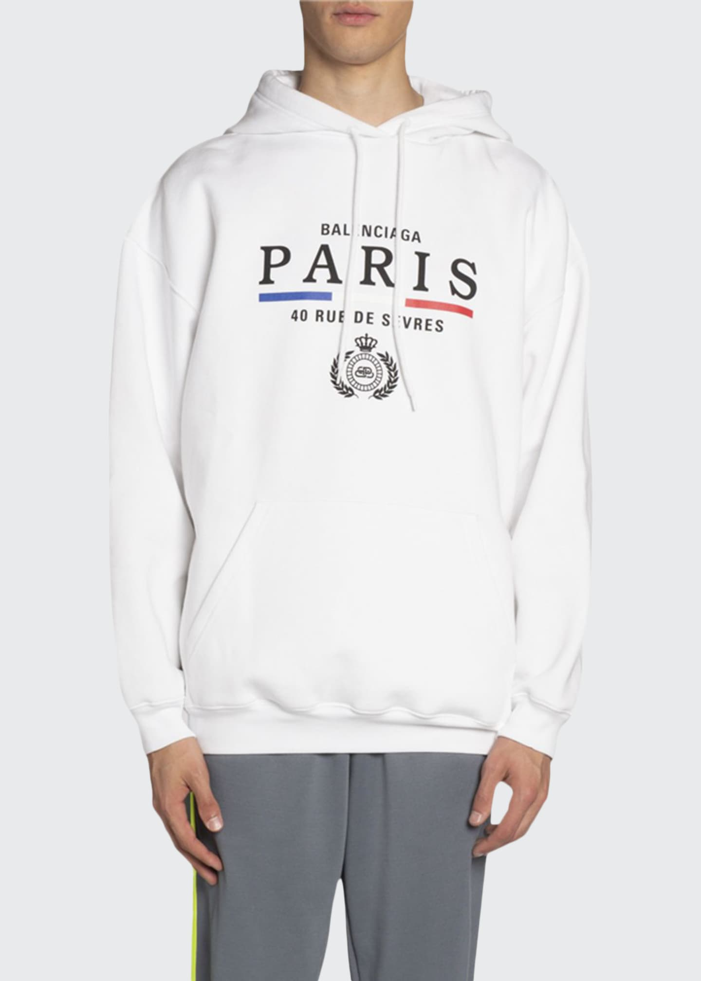 Balenciaga Men's Vintage Paris Flag Graphic Hoodie