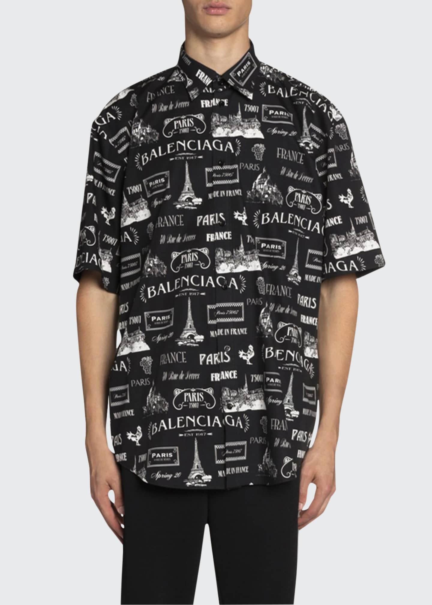 Balenciaga Men's Poplin Vintage Paris Sport Shirt