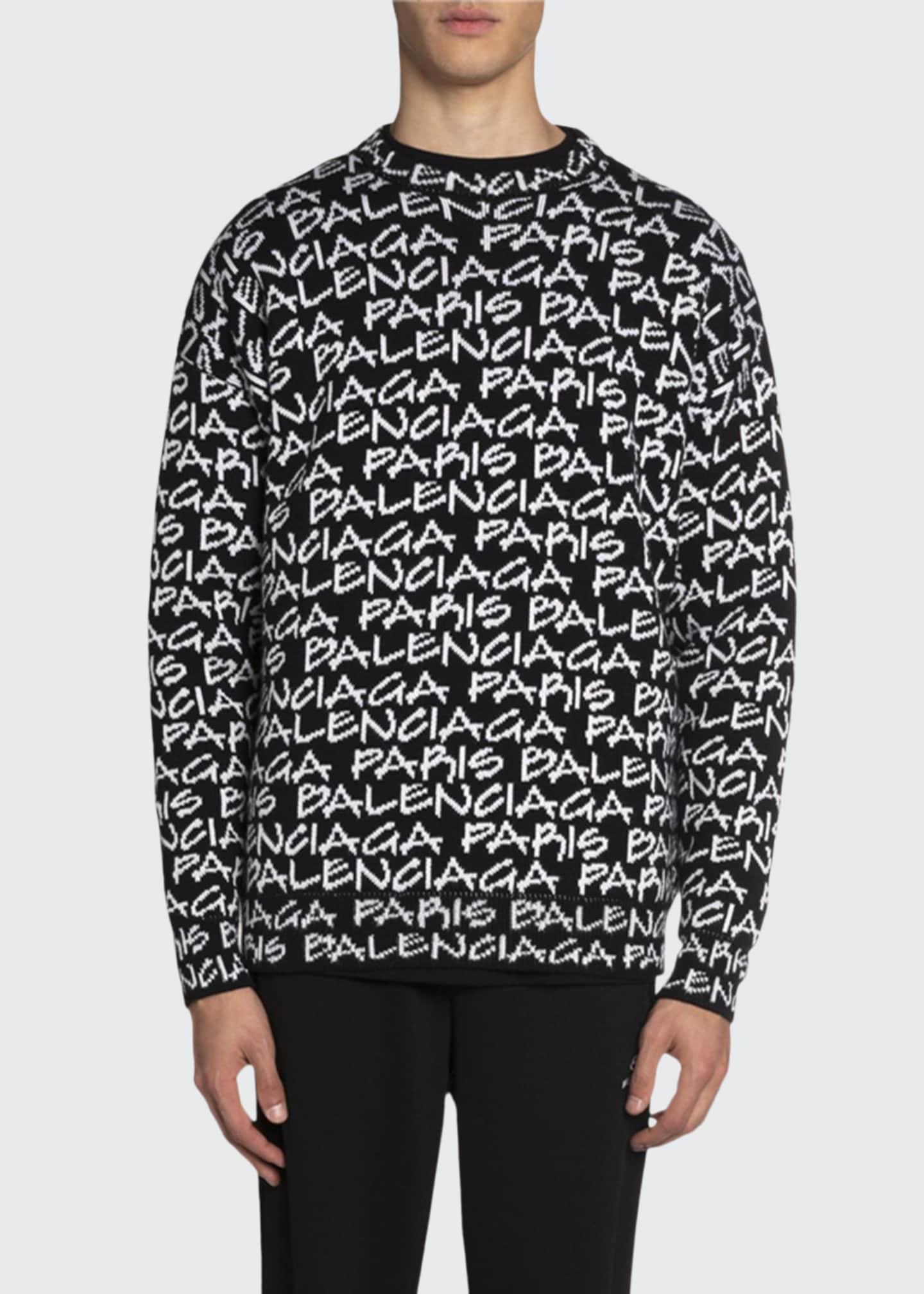 Balenciaga Men's Logo Intarsia-Knit Crewneck Sweater