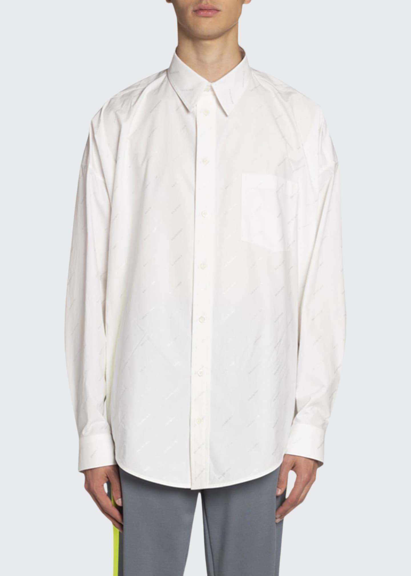 Balenciaga Men's Logo Poplin Cocoon Sport Shirt