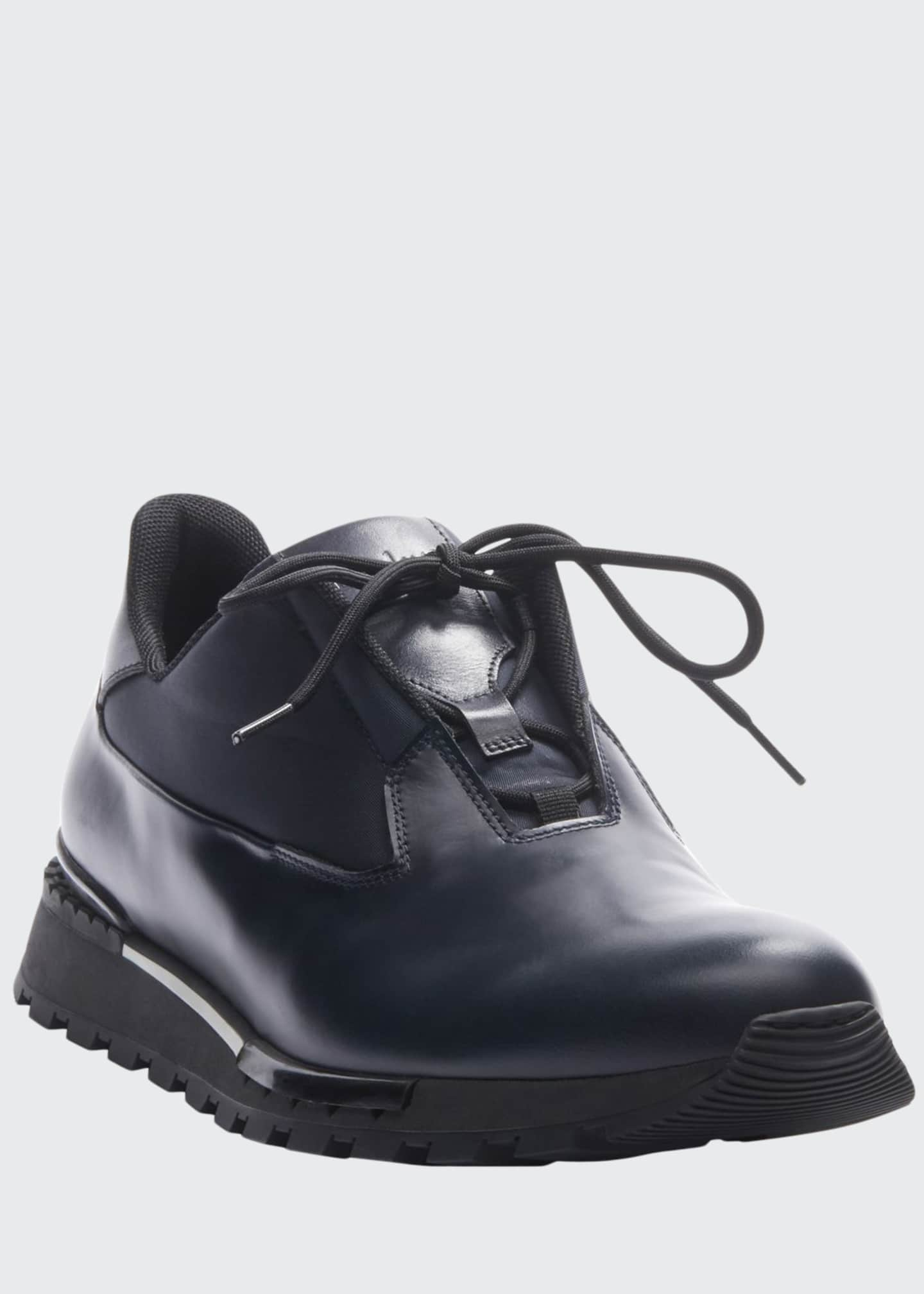 Image 1 of 3: Men's Glazed Leather Sneakers