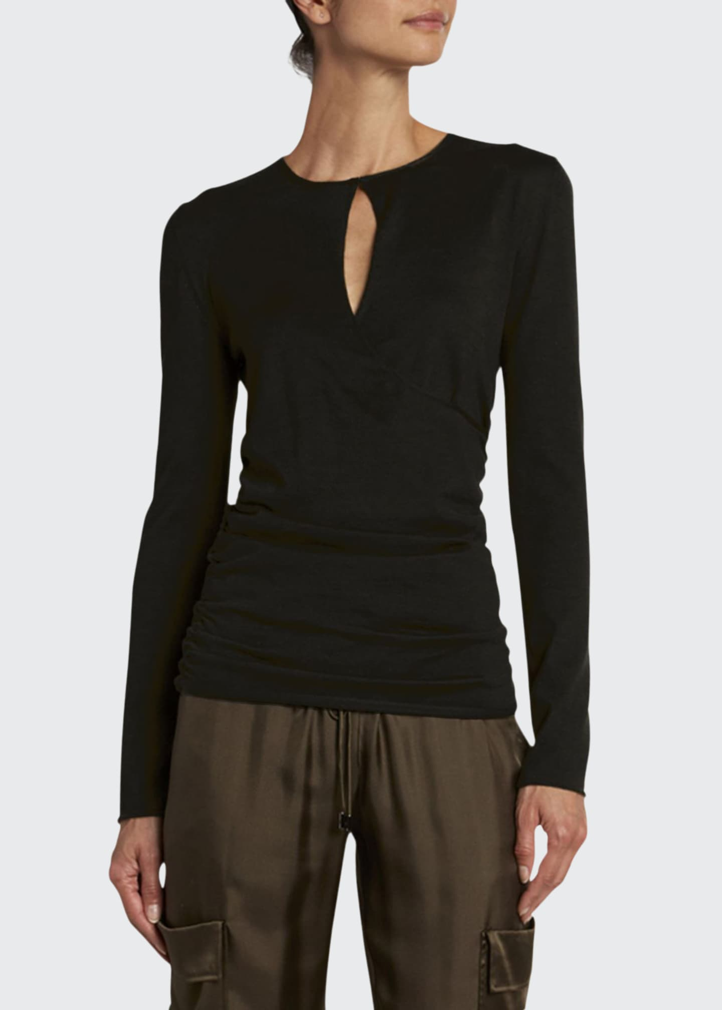 Image 1 of 2: Fine Cashmere-Silk Wrapped Keyhole Top