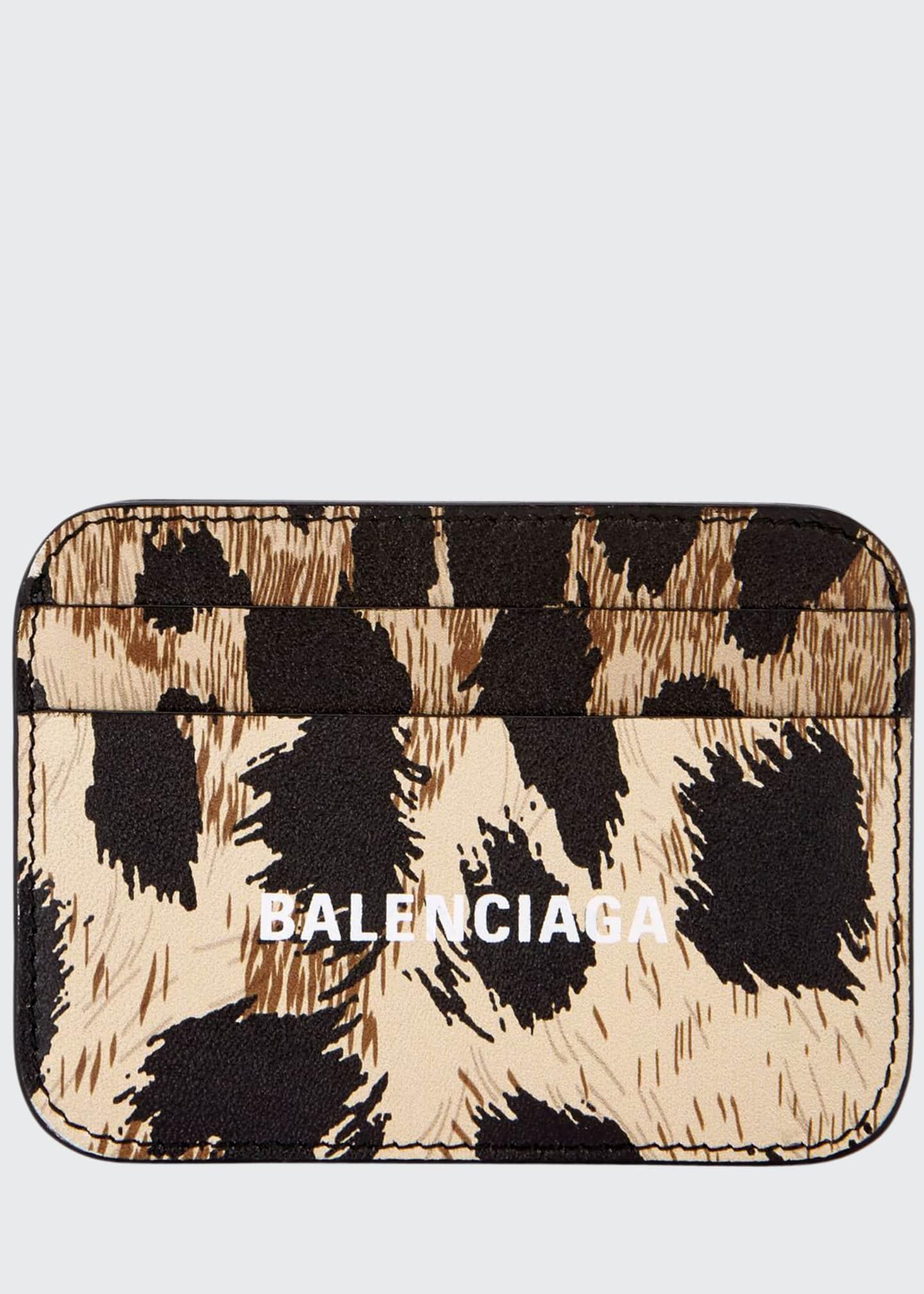 Balenciaga Leopard-Print Cash Card Holder
