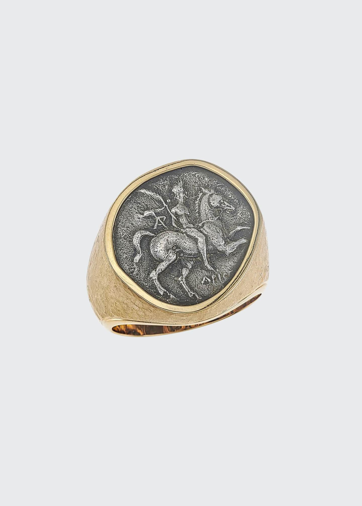 Image 1 of 1: Men's 18k Gold Ancient Coin Signet Ring