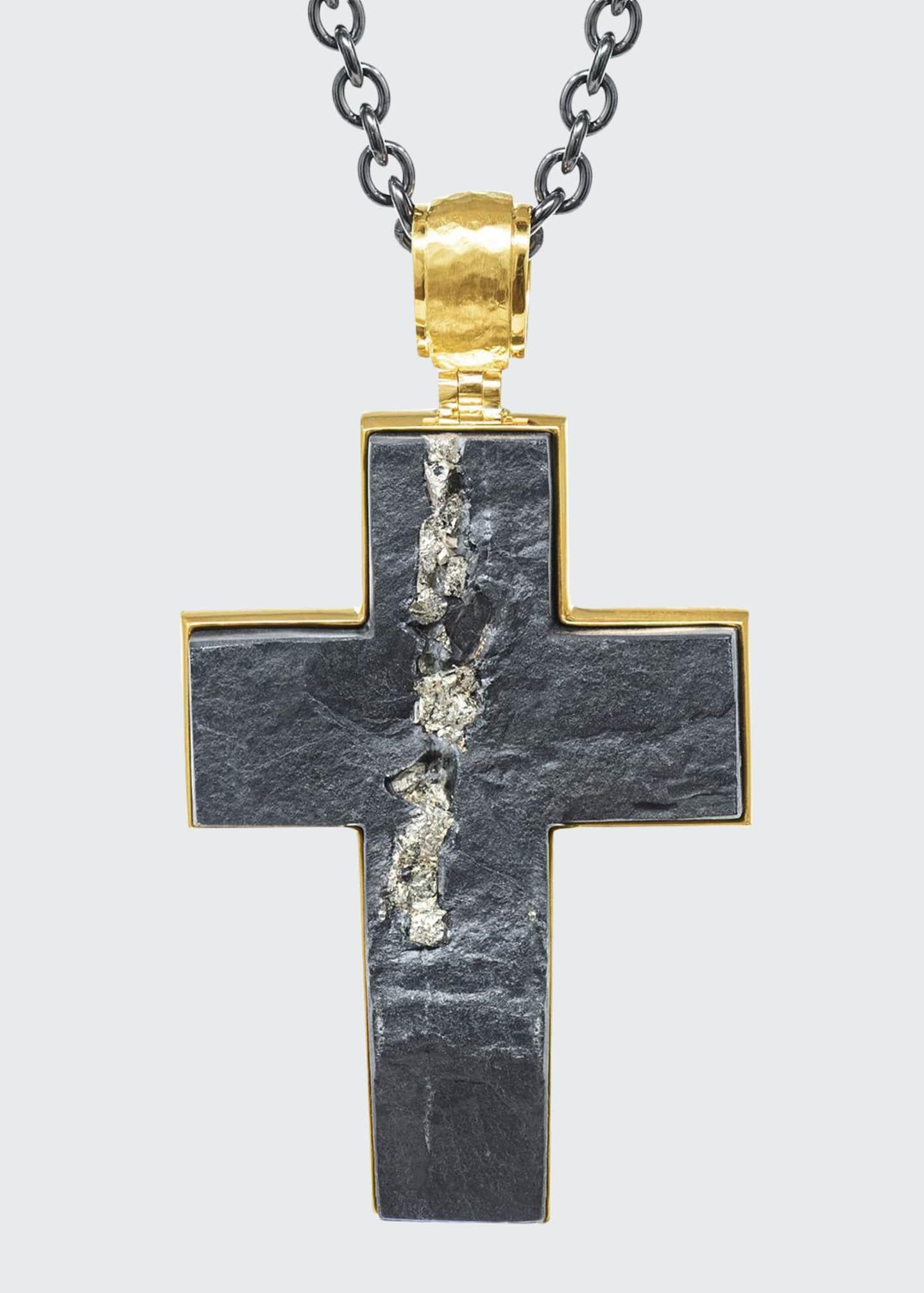 Jorge Adeler Men's Pyritized Slate 18k Gold Cross