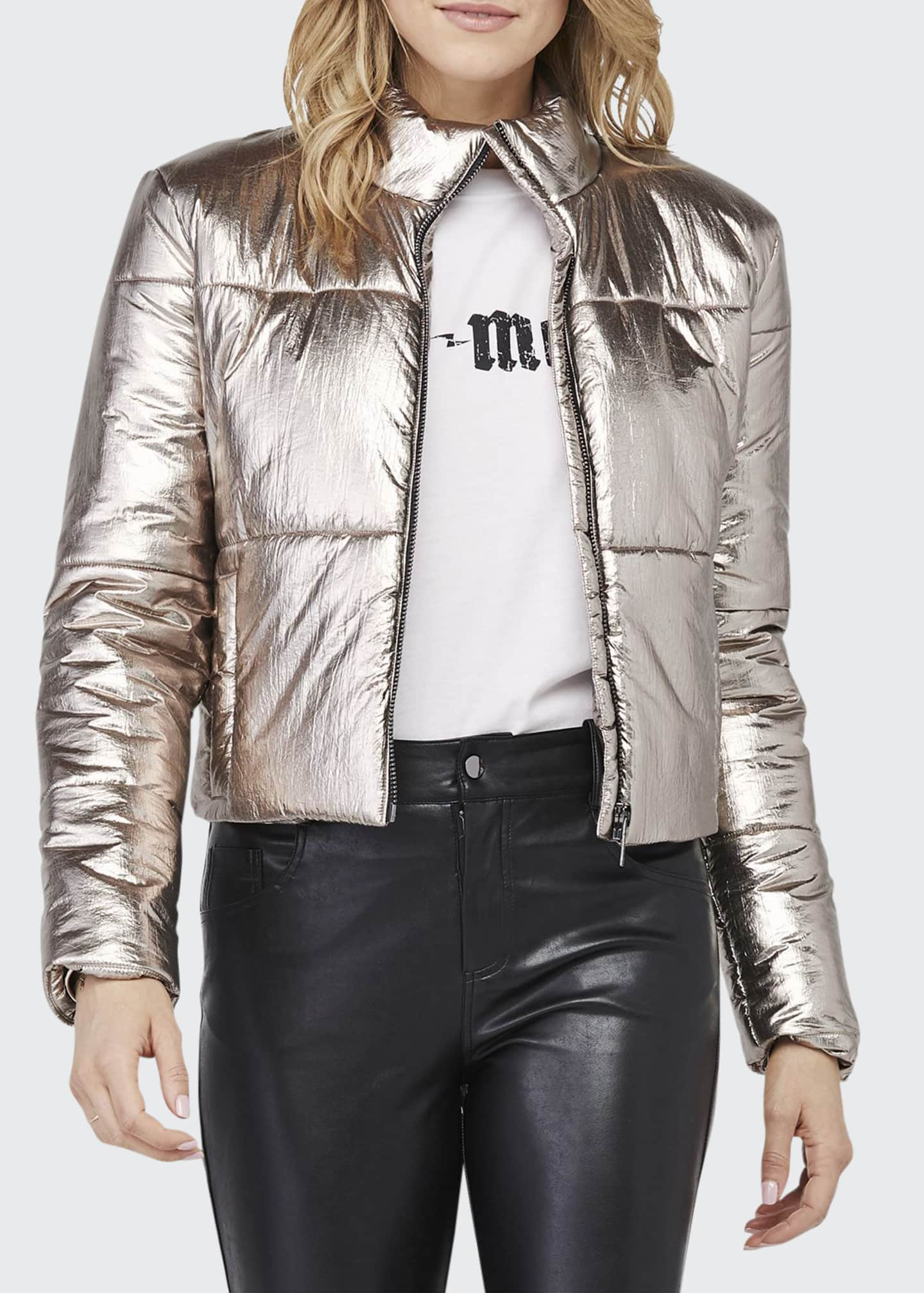 David Lerner Bella Metallic Cropped Puffer Jacket