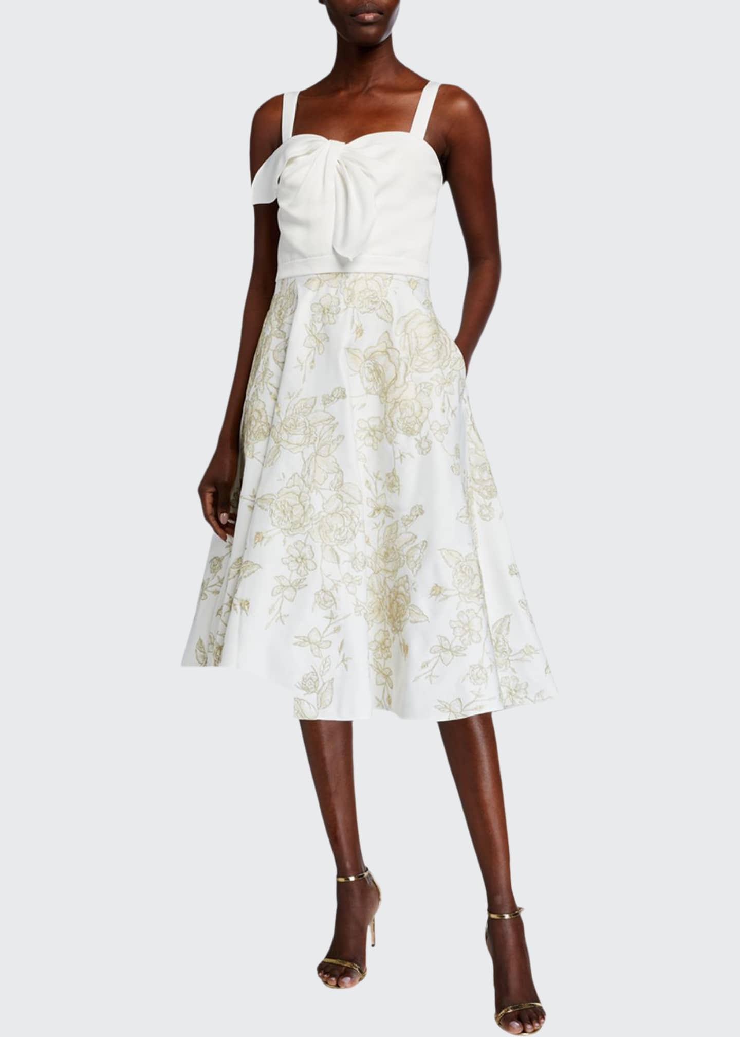 Image 1 of 2: Sleeveless Draped Satin Embroidered Skirt Dress