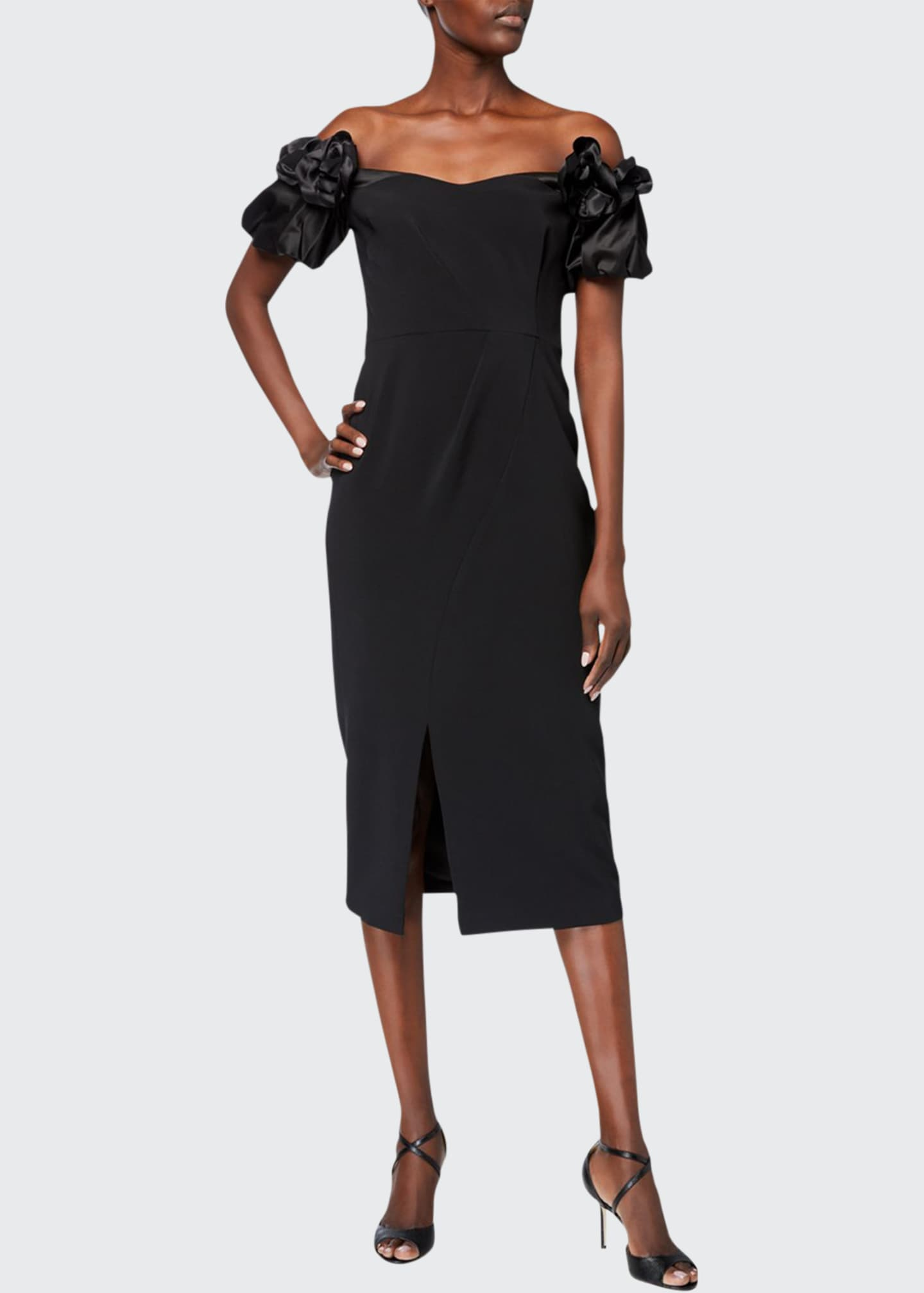 Image 1 of 2: Off-the-Shoulder Satin Puff-Sleeve Stretch Crepe Dress