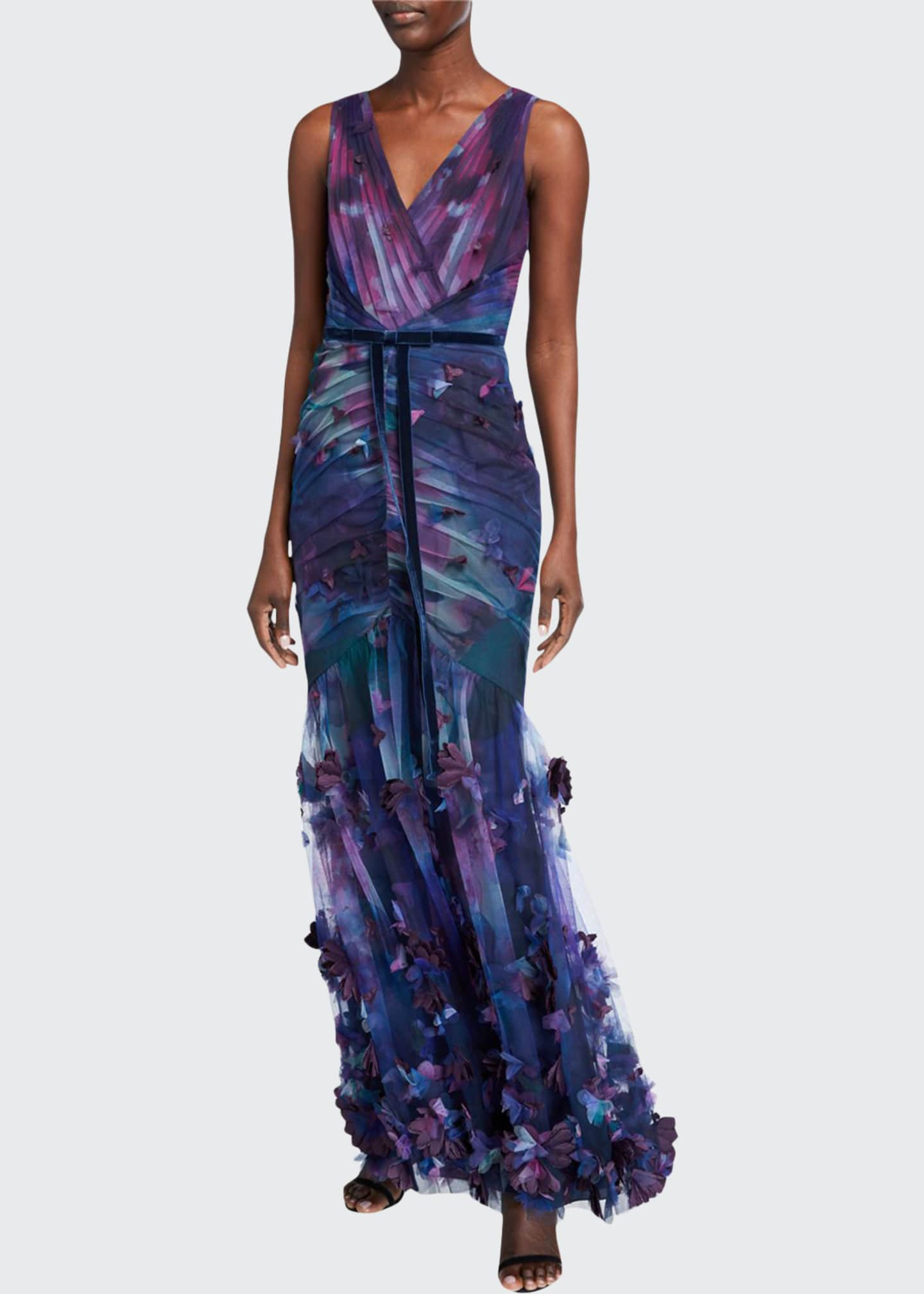 Image 1 of 2: Sleeveless Printed Tulle Fit-&-Flare Gown w/ 3D Flowers