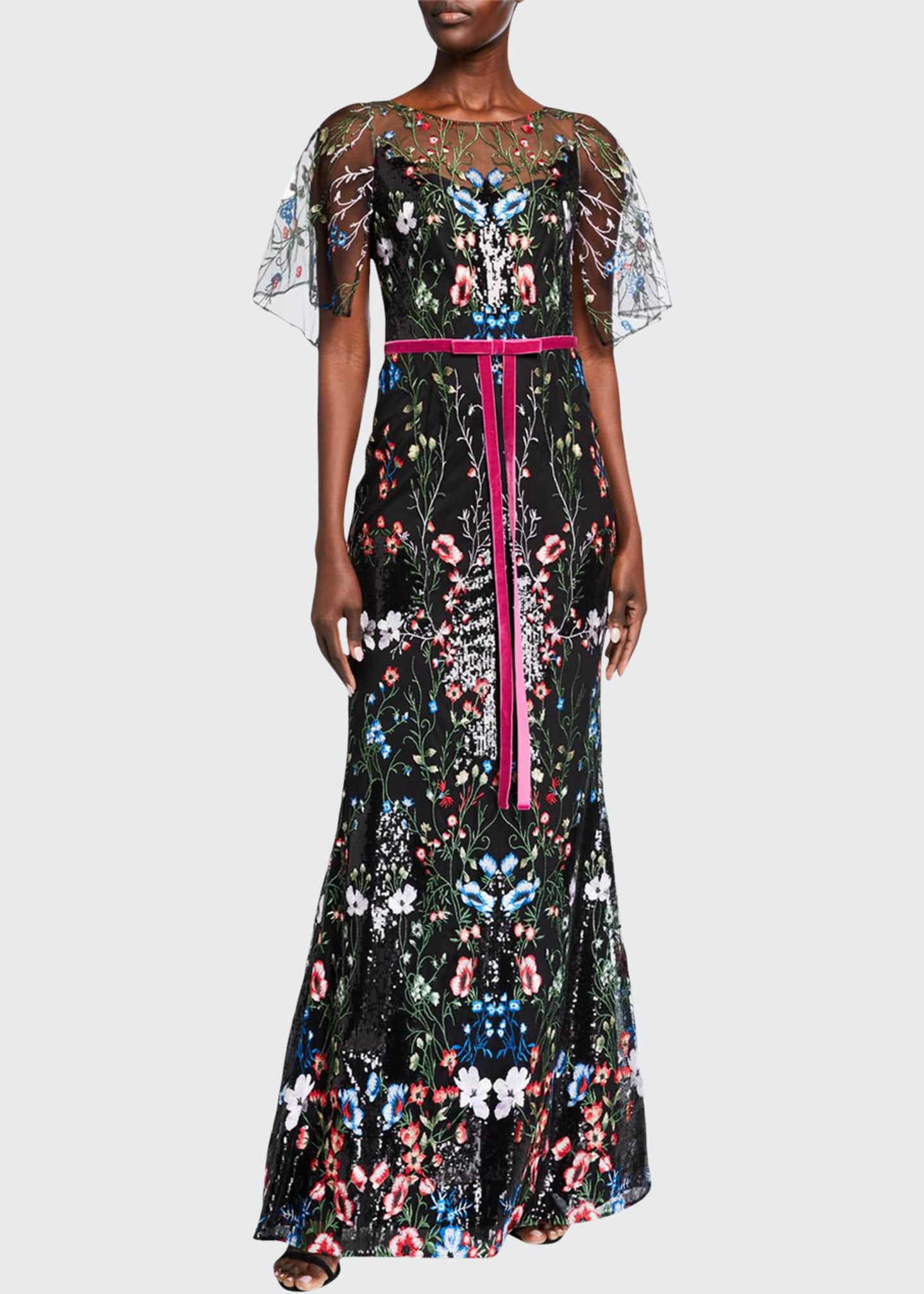 Image 1 of 2: Cape-Sleeve Multicolor Sequin Embroidered Gown