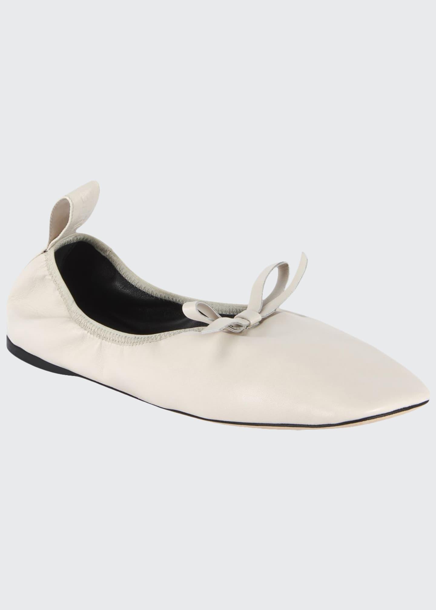 Loewe Soft Napa Bow Ballet Flats, White
