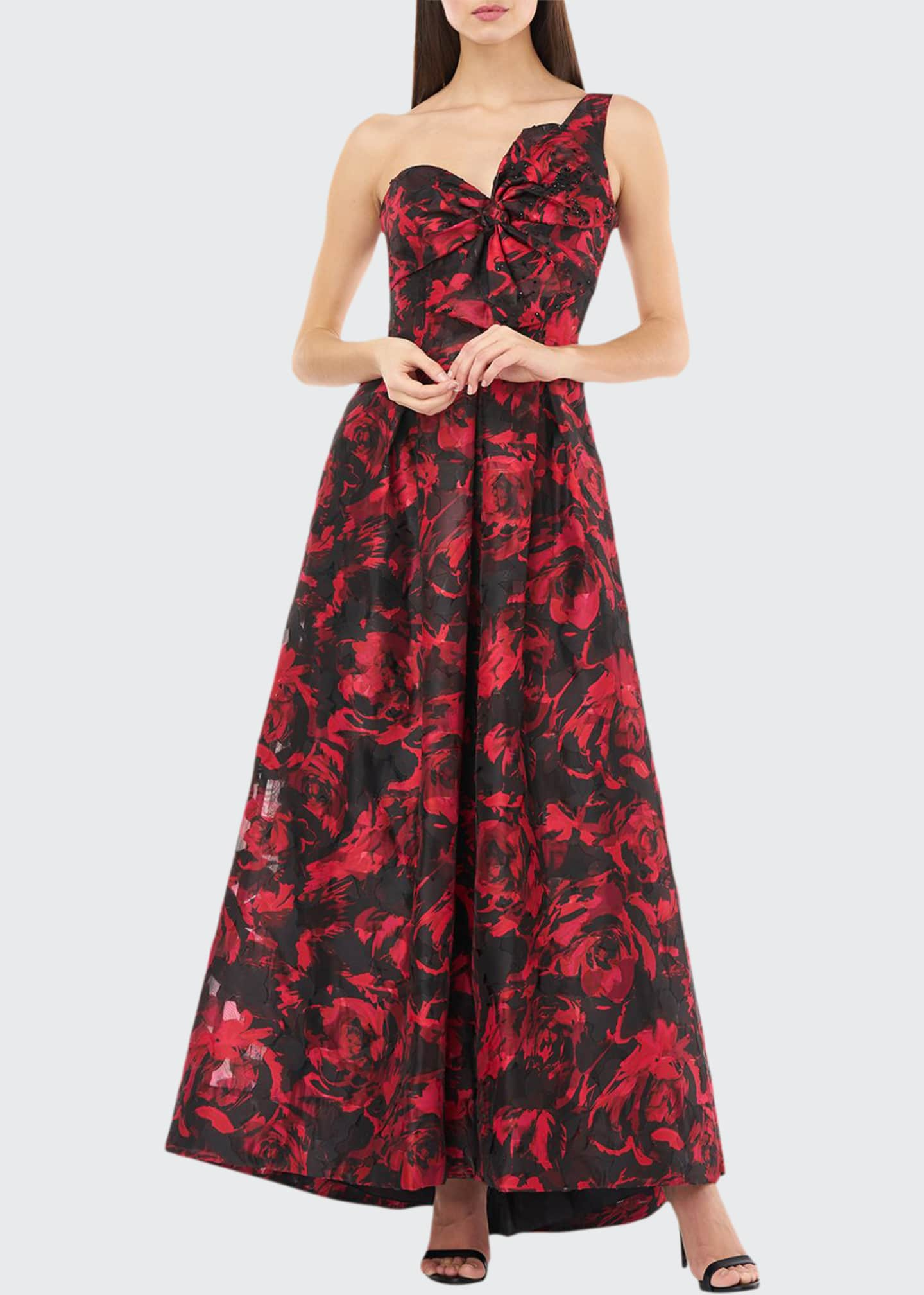 Carmen Marc Valvo Infusion Sweetheart One-Shoulder Printed Gown