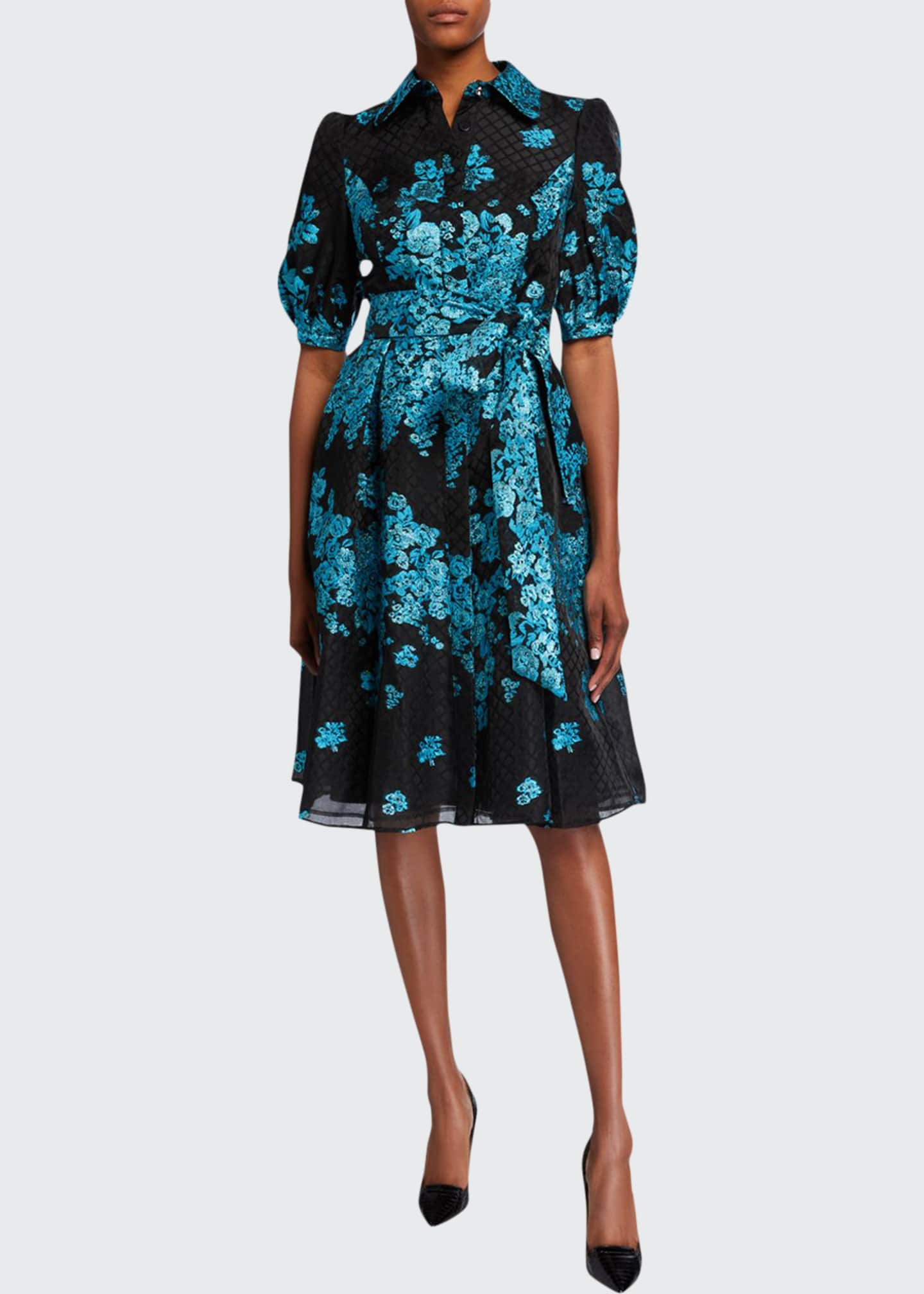 Image 1 of 2: Metallic Floral Embroidered Belted Organza Shirtdress