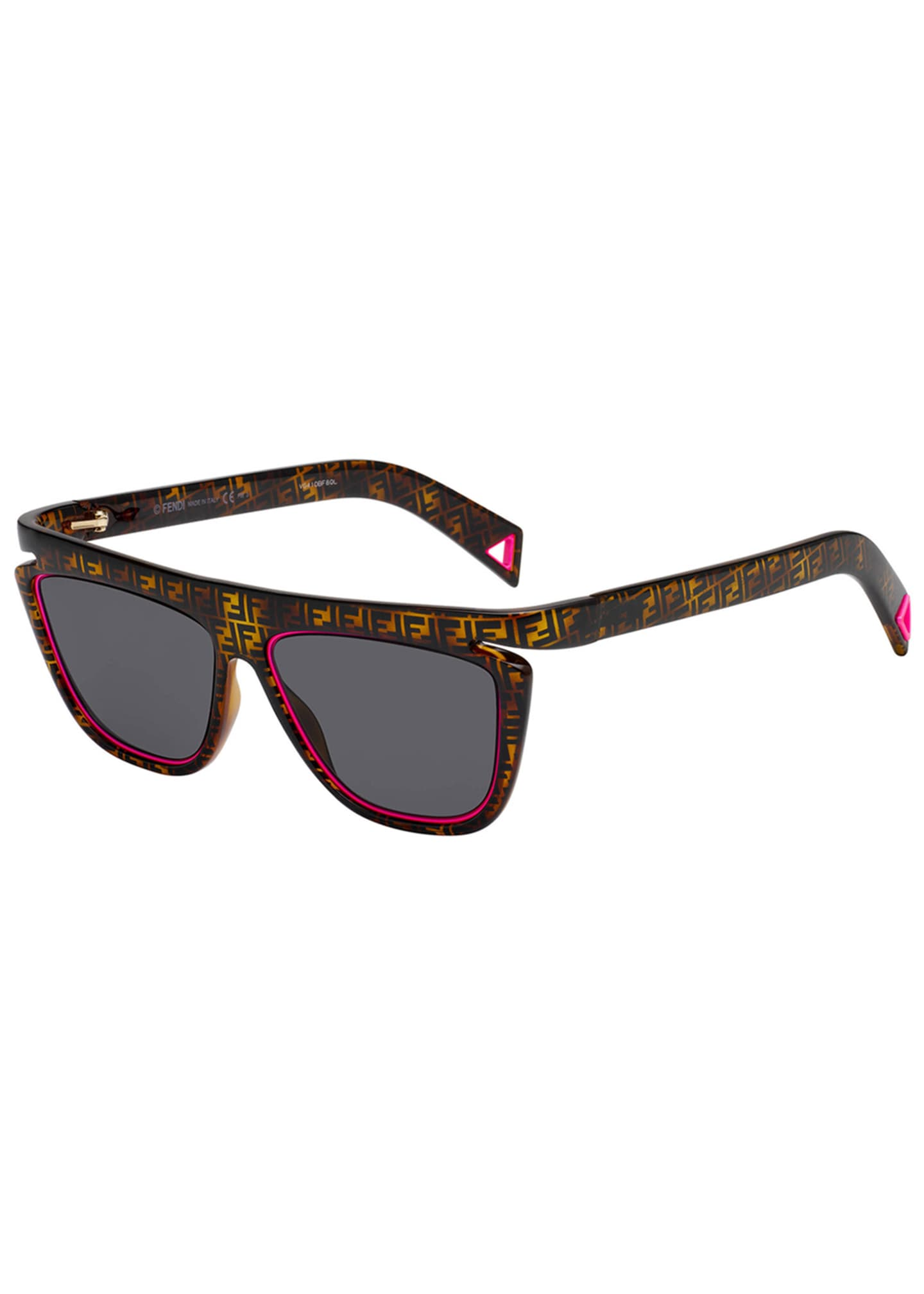 Fendi Men's FF Havana Fluorescent-Trim Sunglasses