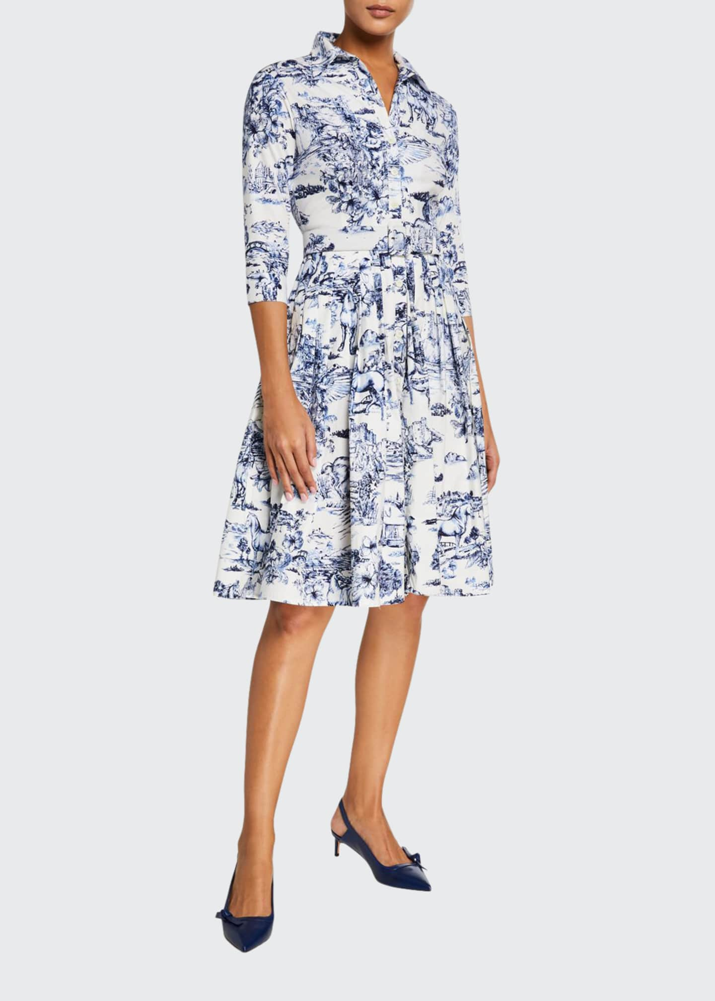 Image 1 of 3: Audrey Da Vinci Toile Stretch Cotton Belted Dress