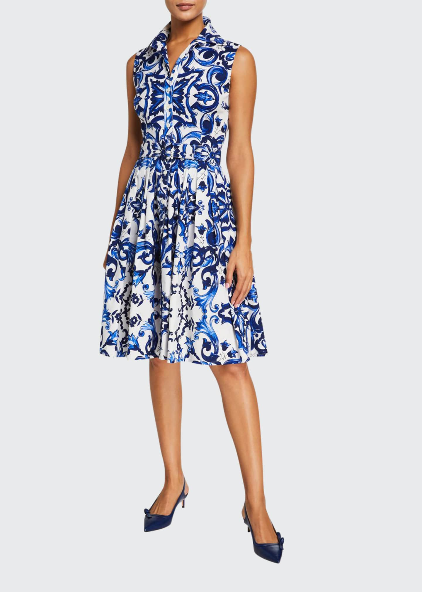 Image 1 of 3: Audrey Sleeveless Paros Admiral Tile Stretch Cotton Shirtdress
