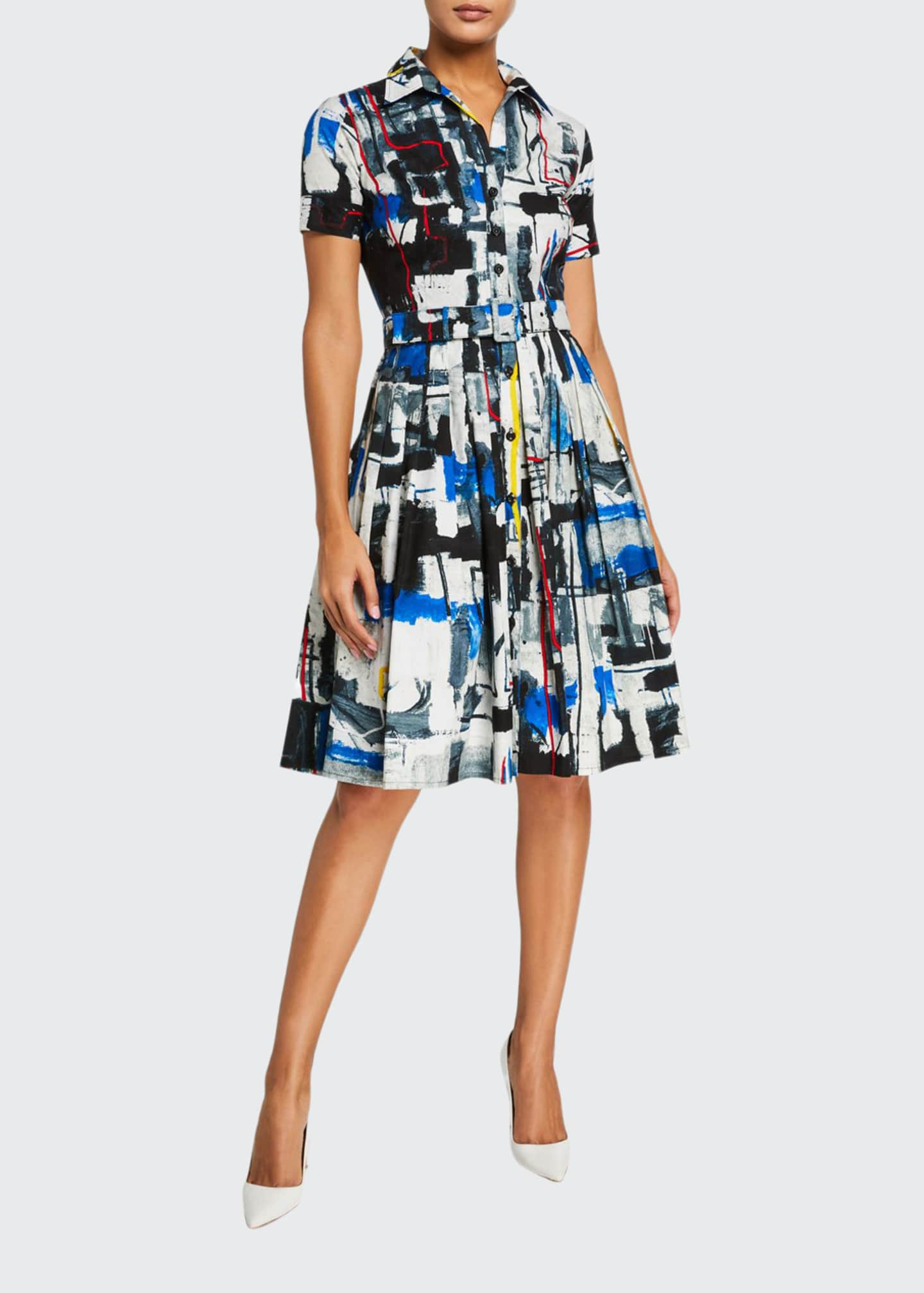 Image 1 of 3: Audrey Short-Sleeve Newman Abstract Stretch Cotton Shirtdress