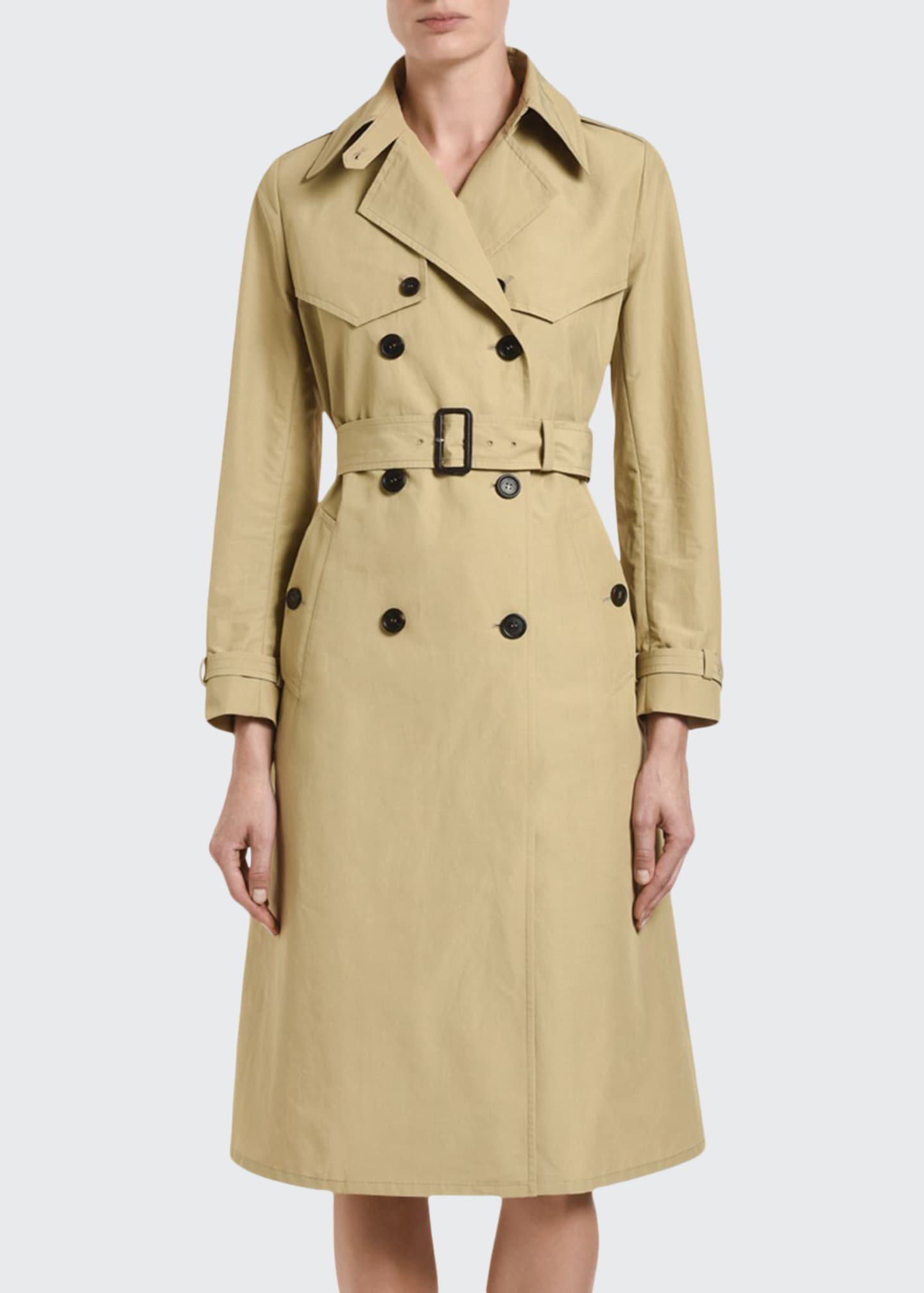 Image 1 of 3: Tech Poplin Double-Breasted Trench Coat