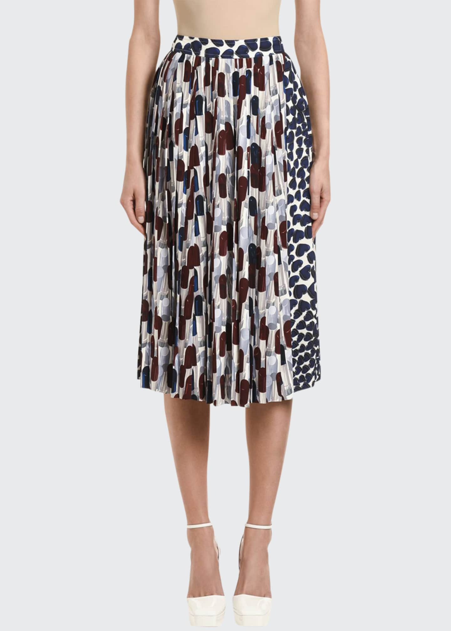 Image 1 of 2: Lipstick-Print Pleated Midi Skirt