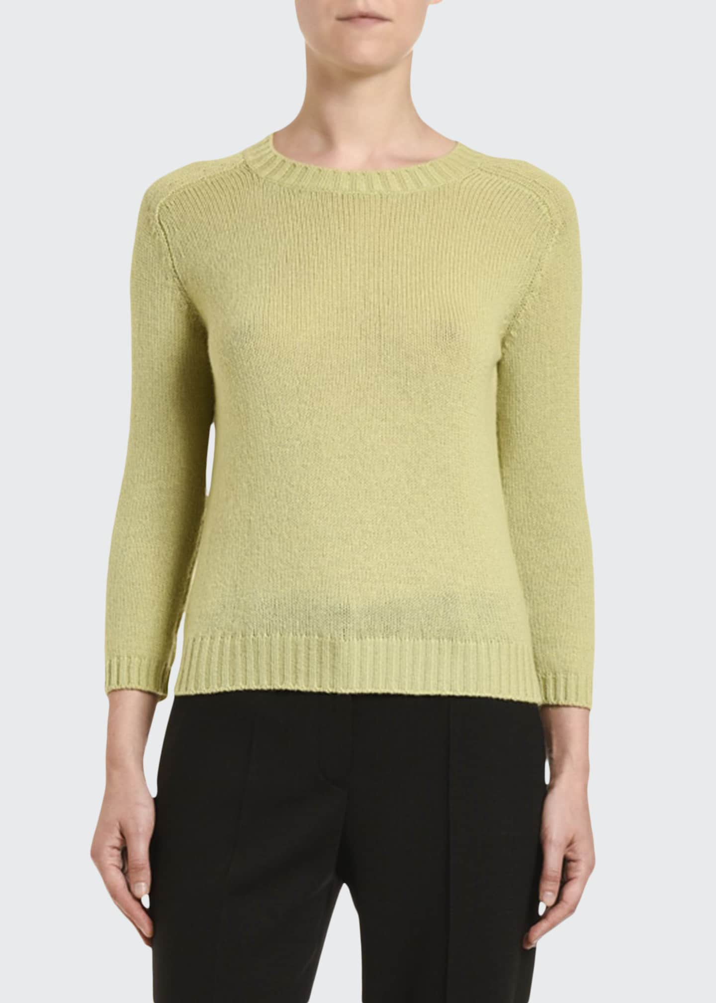 Prada Cashmere Elbow-Patch Fitted Sweater