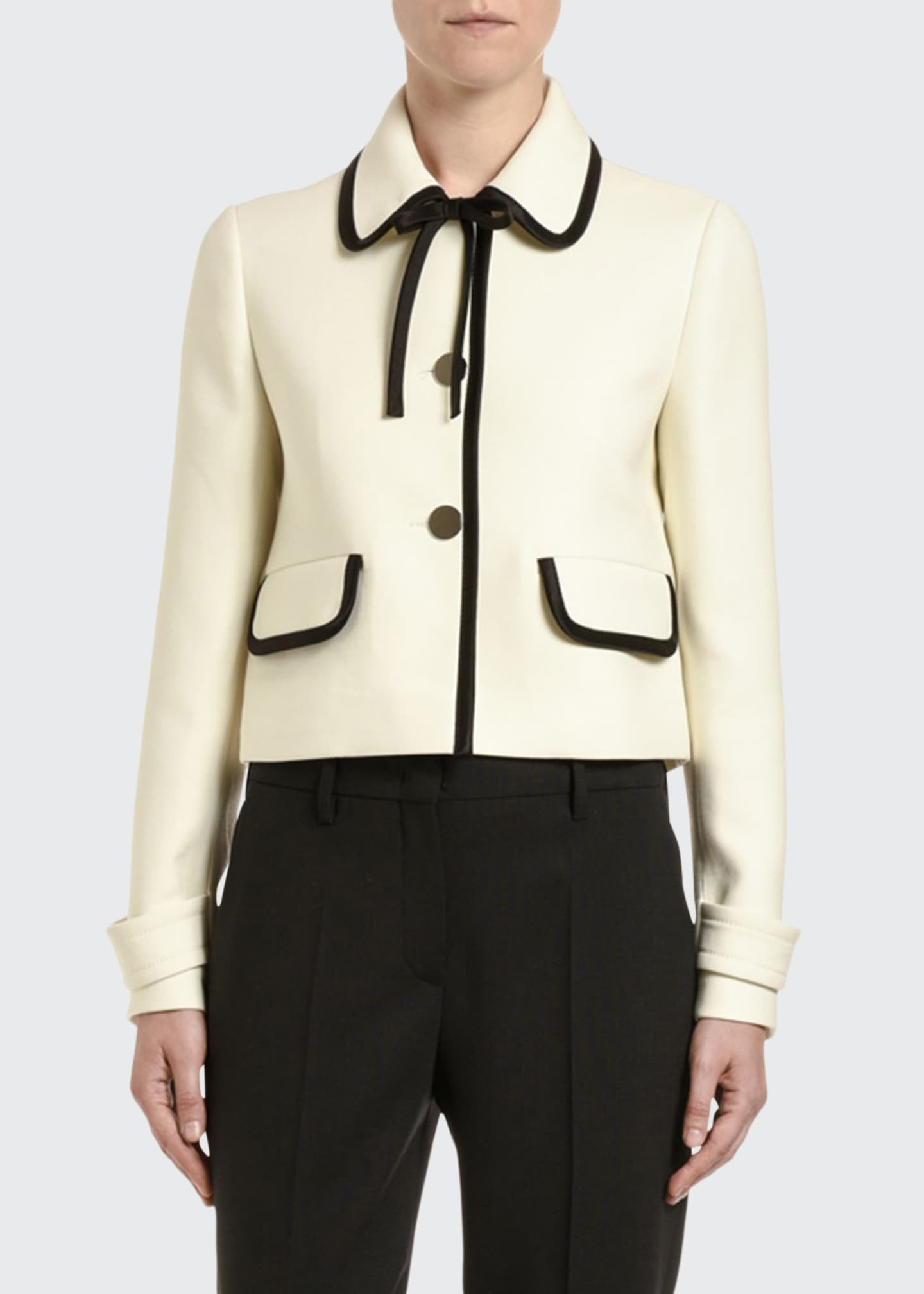 Image 1 of 2: Bow-Neck Button-Front Jacket