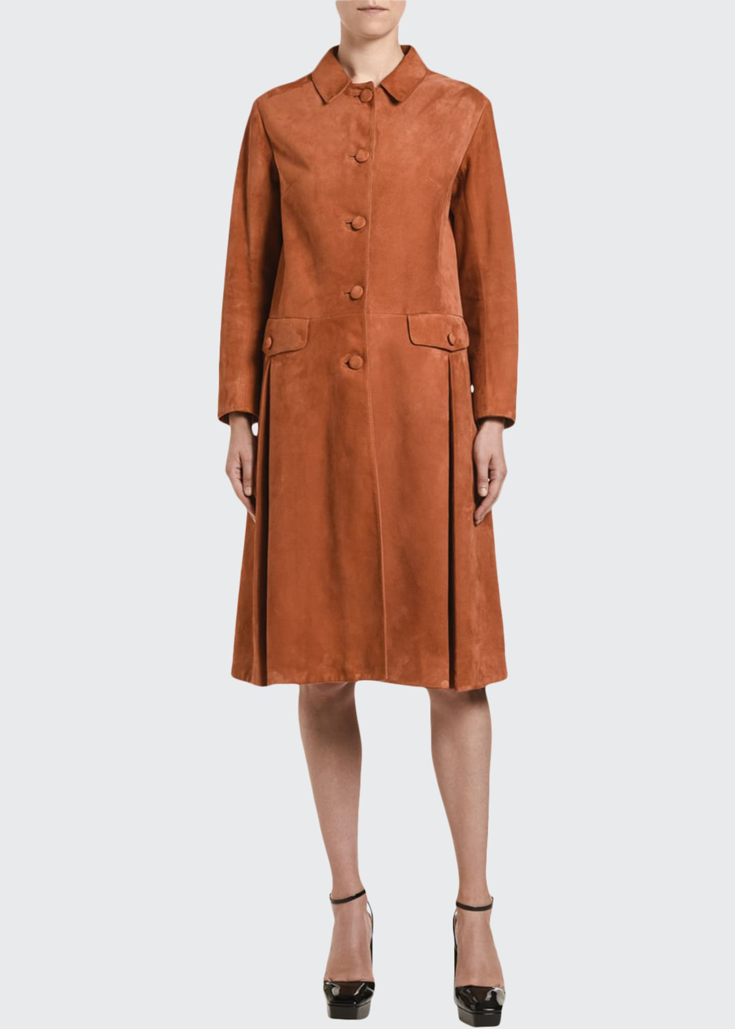 Image 1 of 2: Suede Button-Front Long Coat