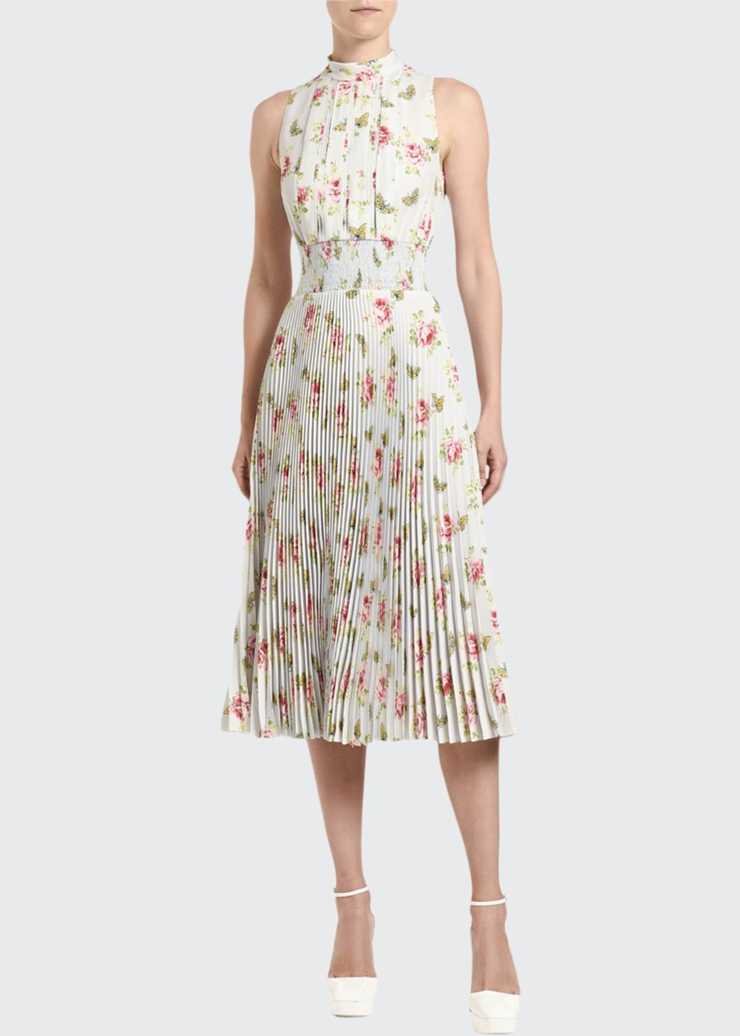 Floral-Print Sleeveless Crepe High-Neck Dress