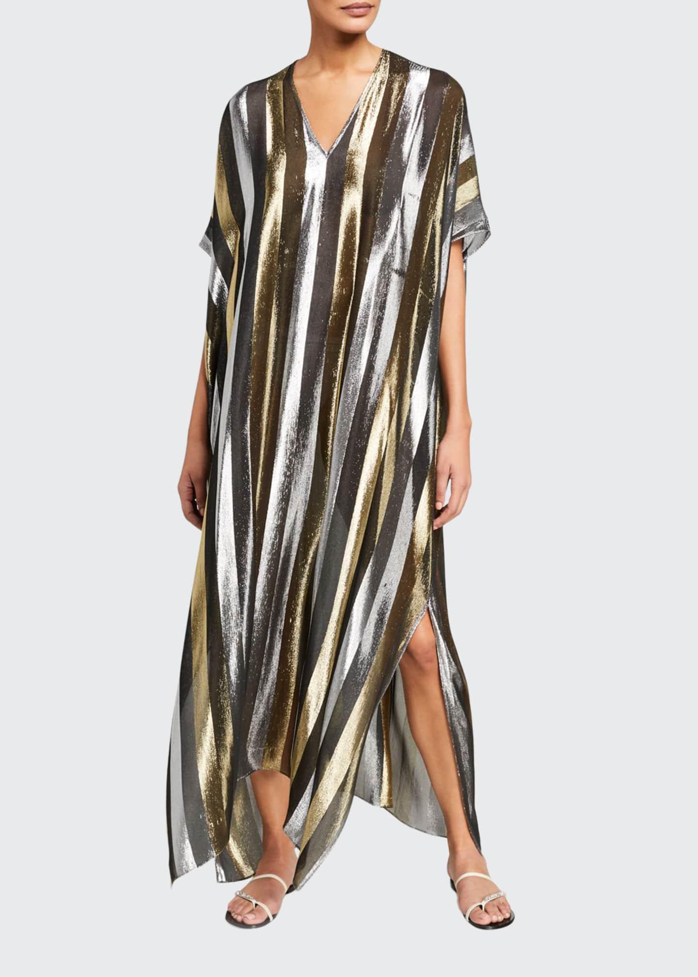 Marie France Van Damme Metallic Stripe Long Caftan