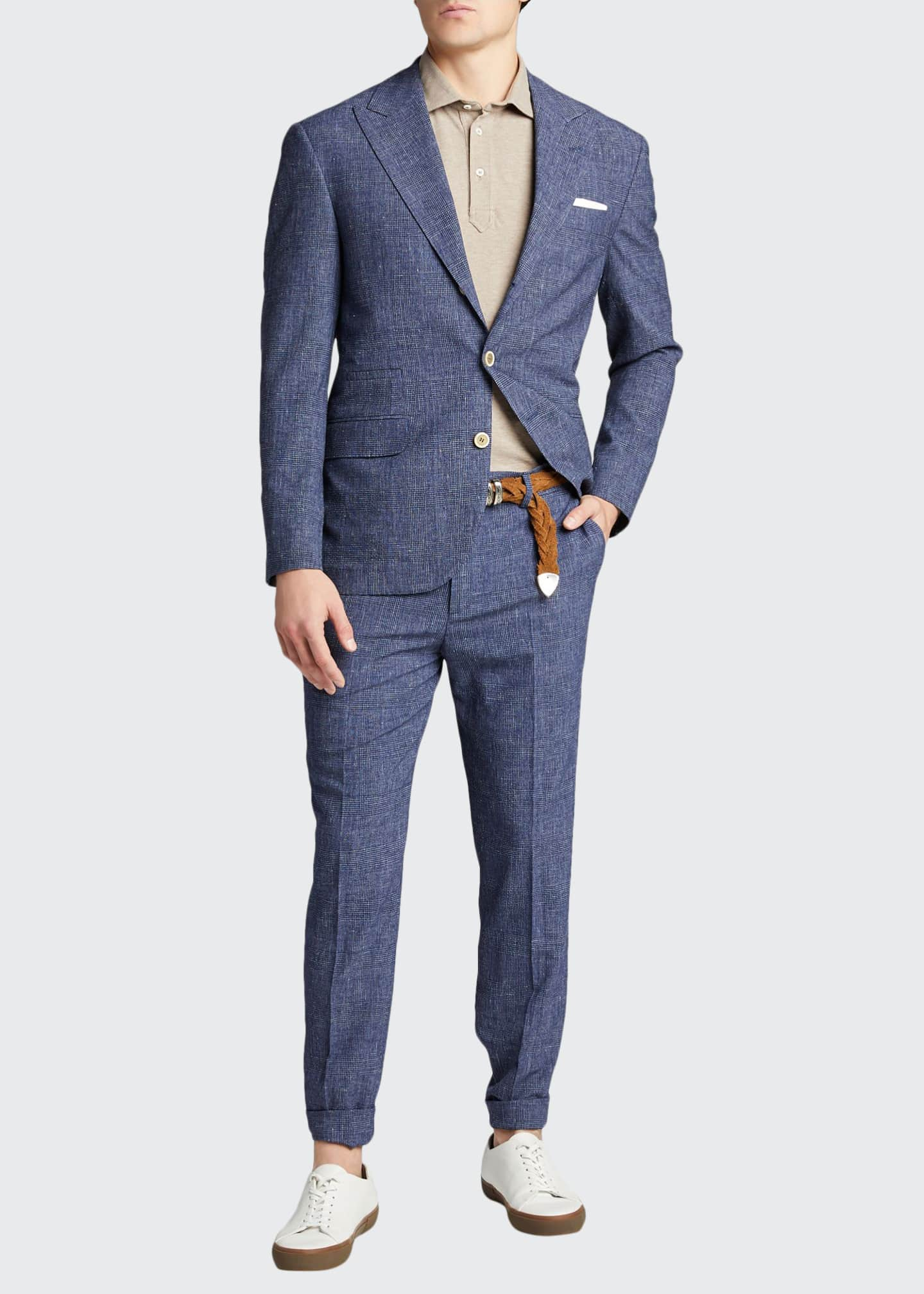 Image 1 of 5: Men's Glen Plaid Peak Lapel Two-Piece Suit