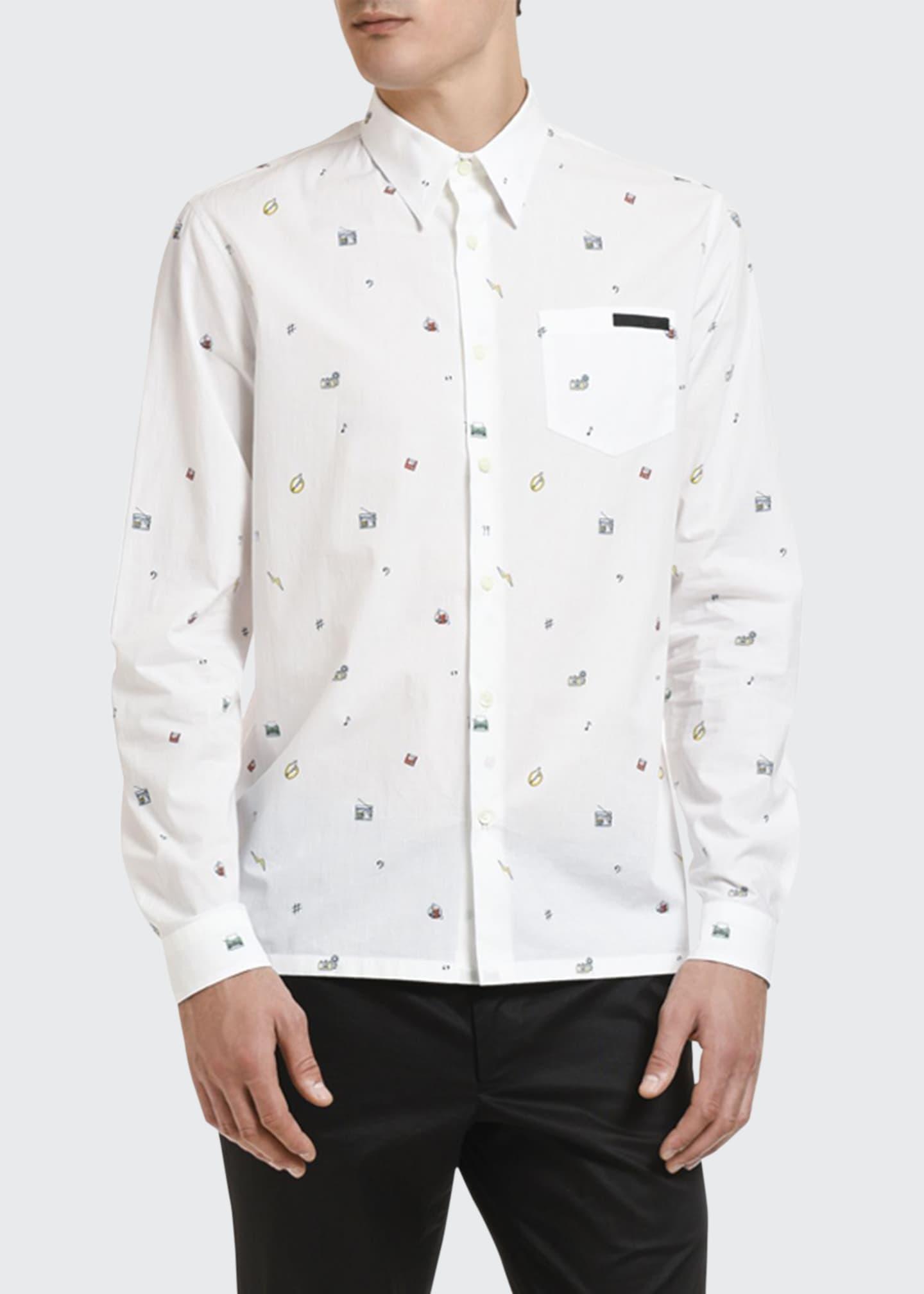 Prada Men's Poplin Toys Point-Collar Sport Shirt