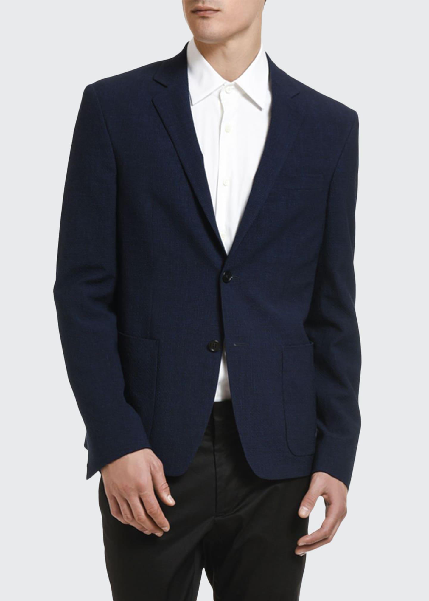 Prada Men's Lana Lino Solid Seersucker Sport Jacket