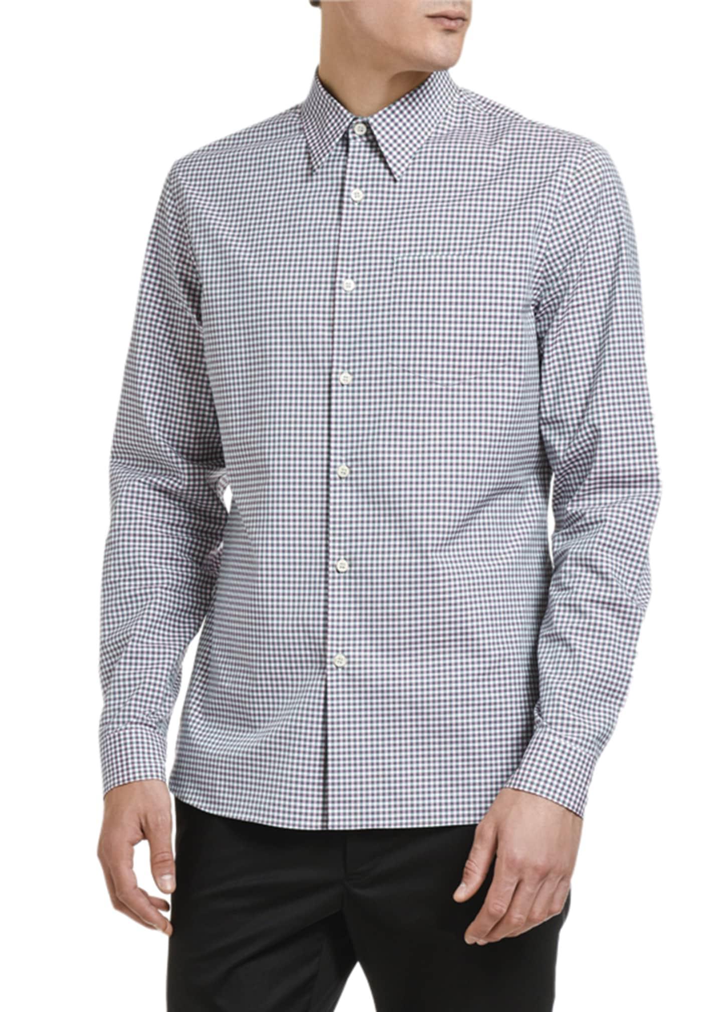 Prada Men's Micro-Vichy Gingham Pocket Sport Shirt