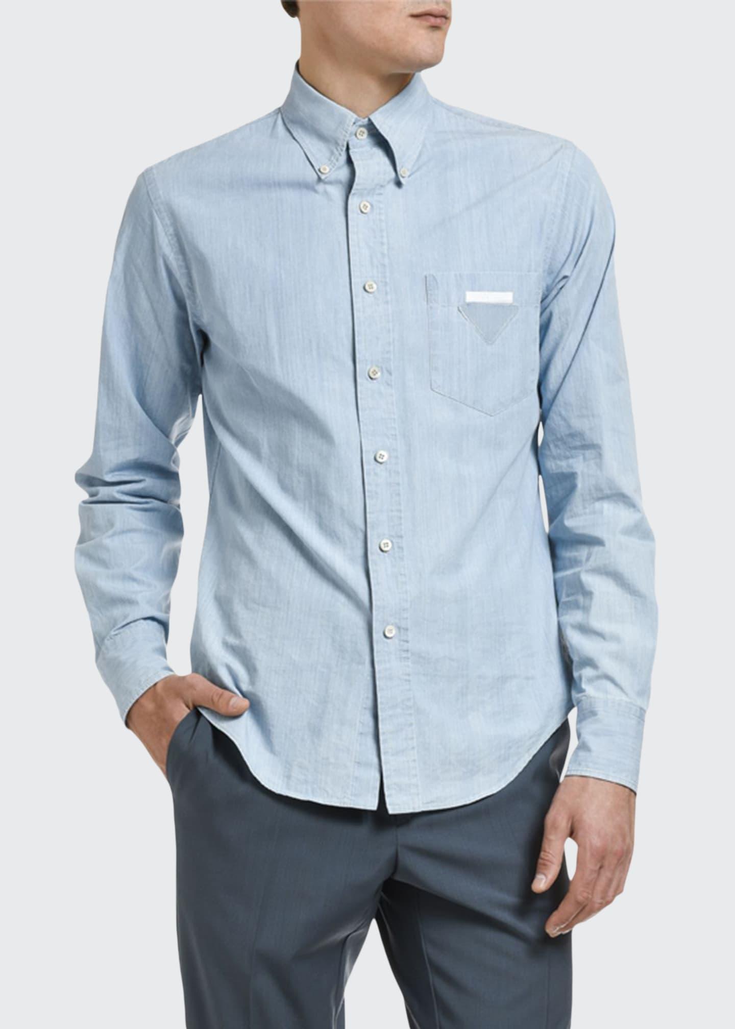 Prada Men's Bleached Chambray Point-Collar Sport Shirt