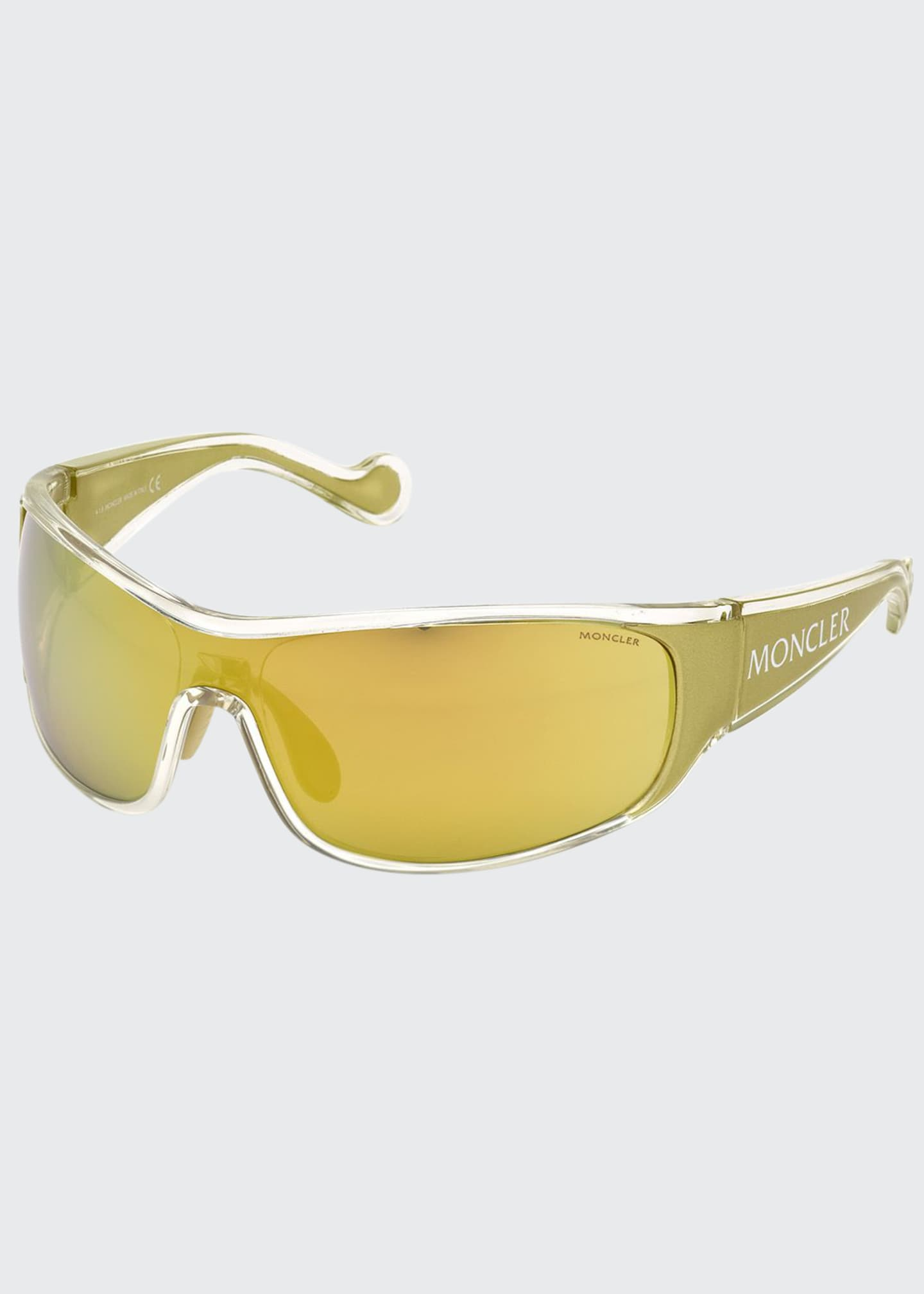 Image 1 of 1: Mirrored Wrap Shield Sunglasses