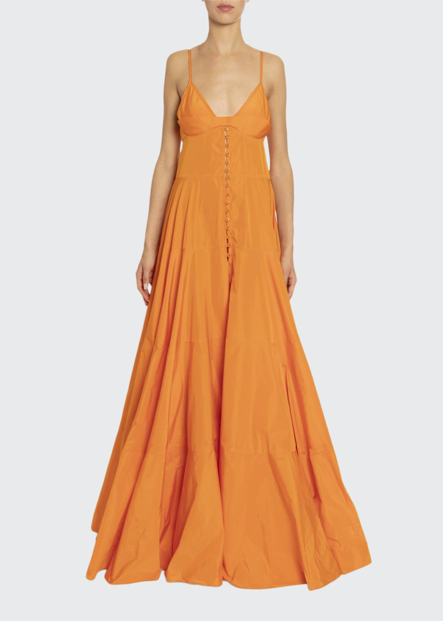 Jacquemus La Manosque Sleeveless Button-Front Tiered Dress