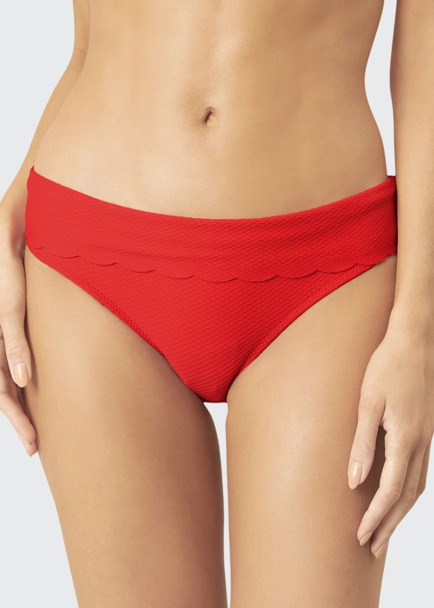 Image 1 of 4: Scalloped Fold-Over Hipster Bikini Bottom