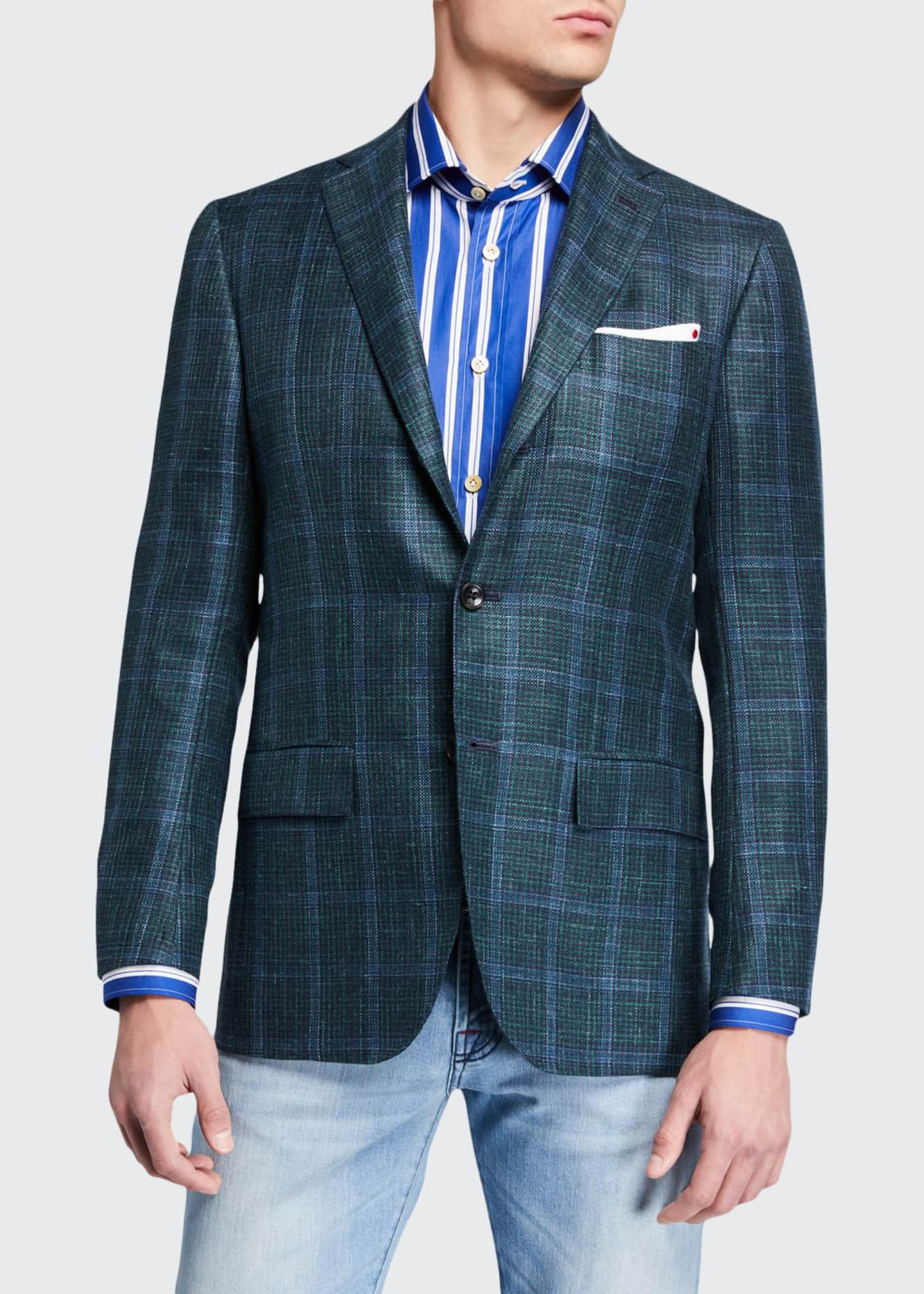 Image 1 of 3: Men's Windowpane Check Cashmere-Blend Sport Jacket