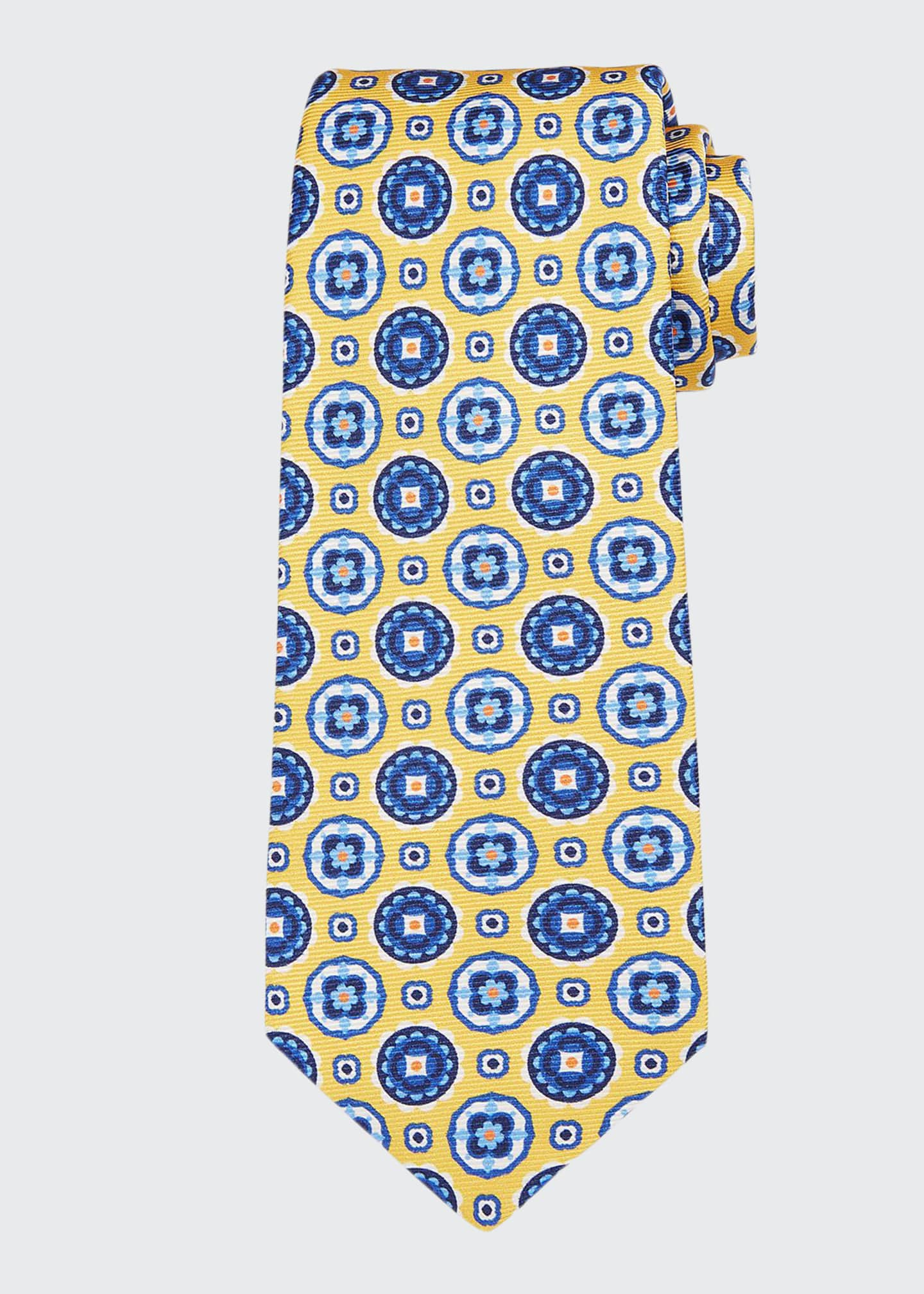 Image 1 of 1: Men's Circle Medallions Silk Tie
