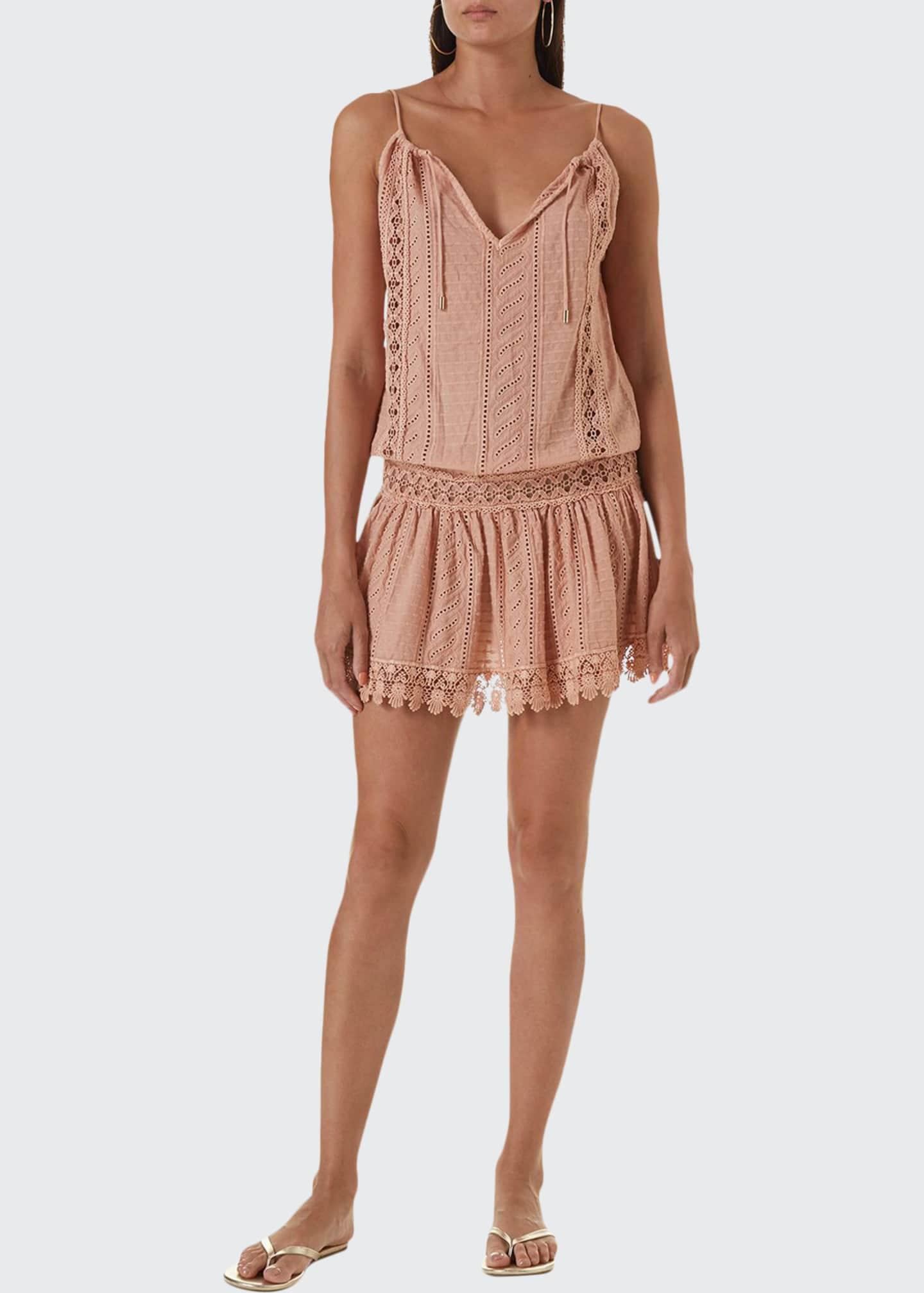 Melissa Odabash Chelsea Eyelet-Lace Halter Dress