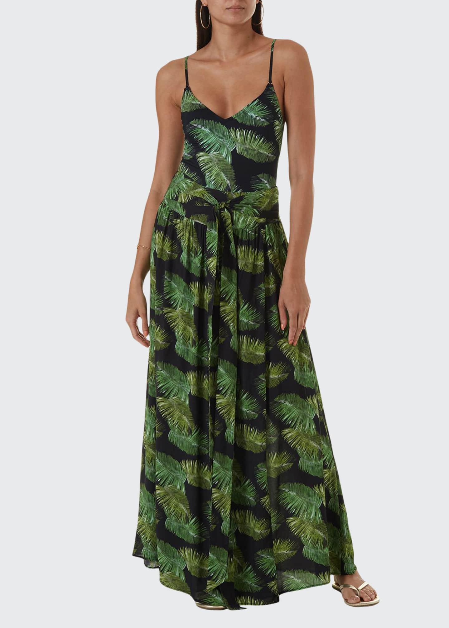 Melissa Odabash Palm-Leaf Print Tie-Waist Maxi Skirt