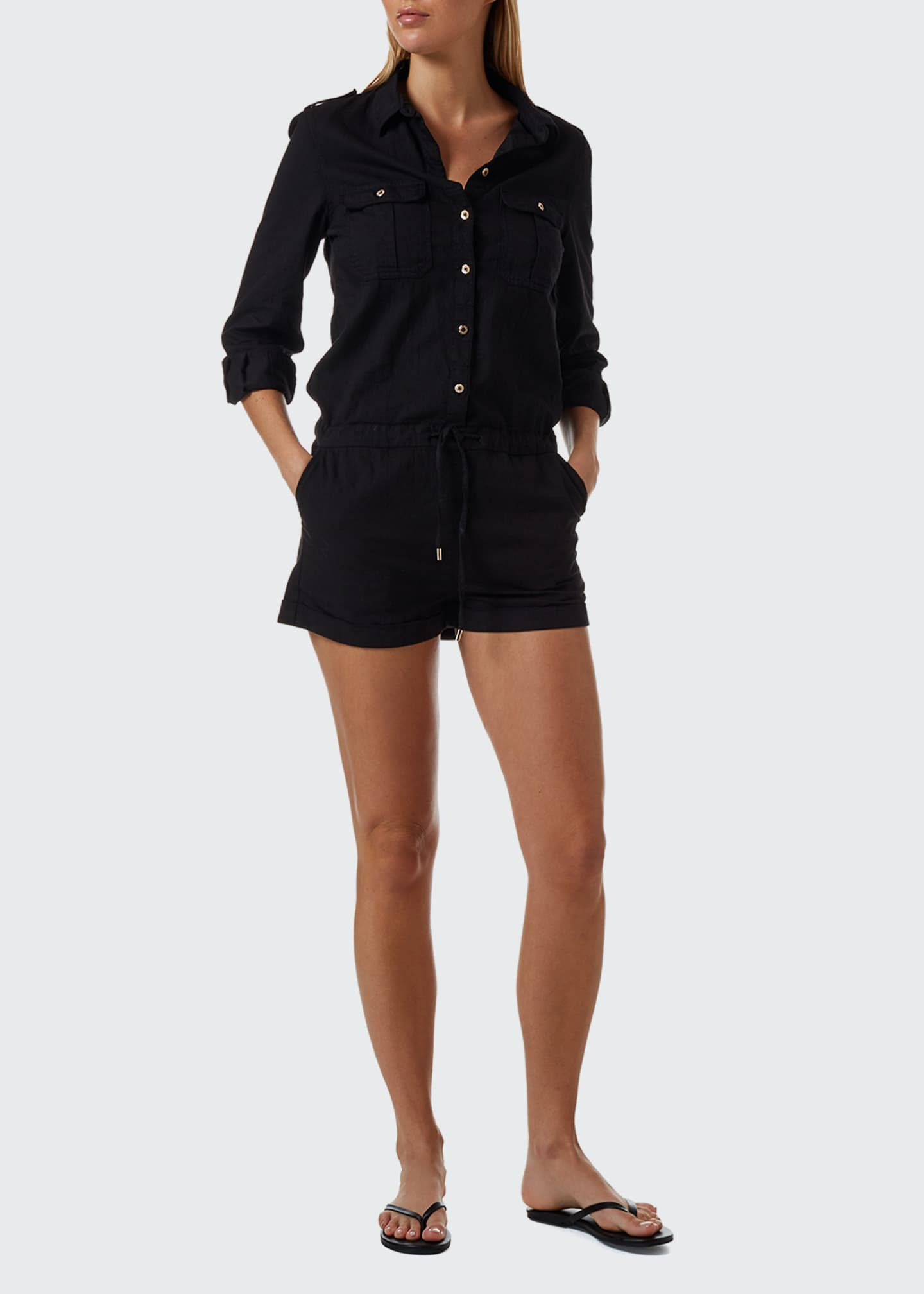 Melissa Odabash Honour Denim Button-Front Romper