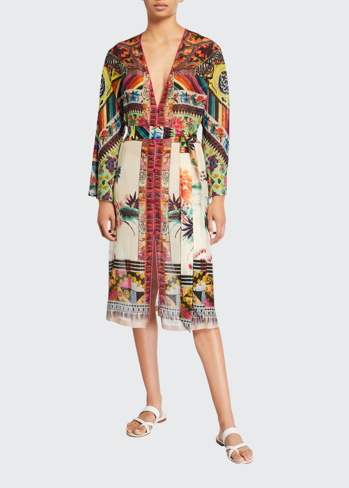 Image 1 of 2: Patchwork Print Long-Sleeve Dress
