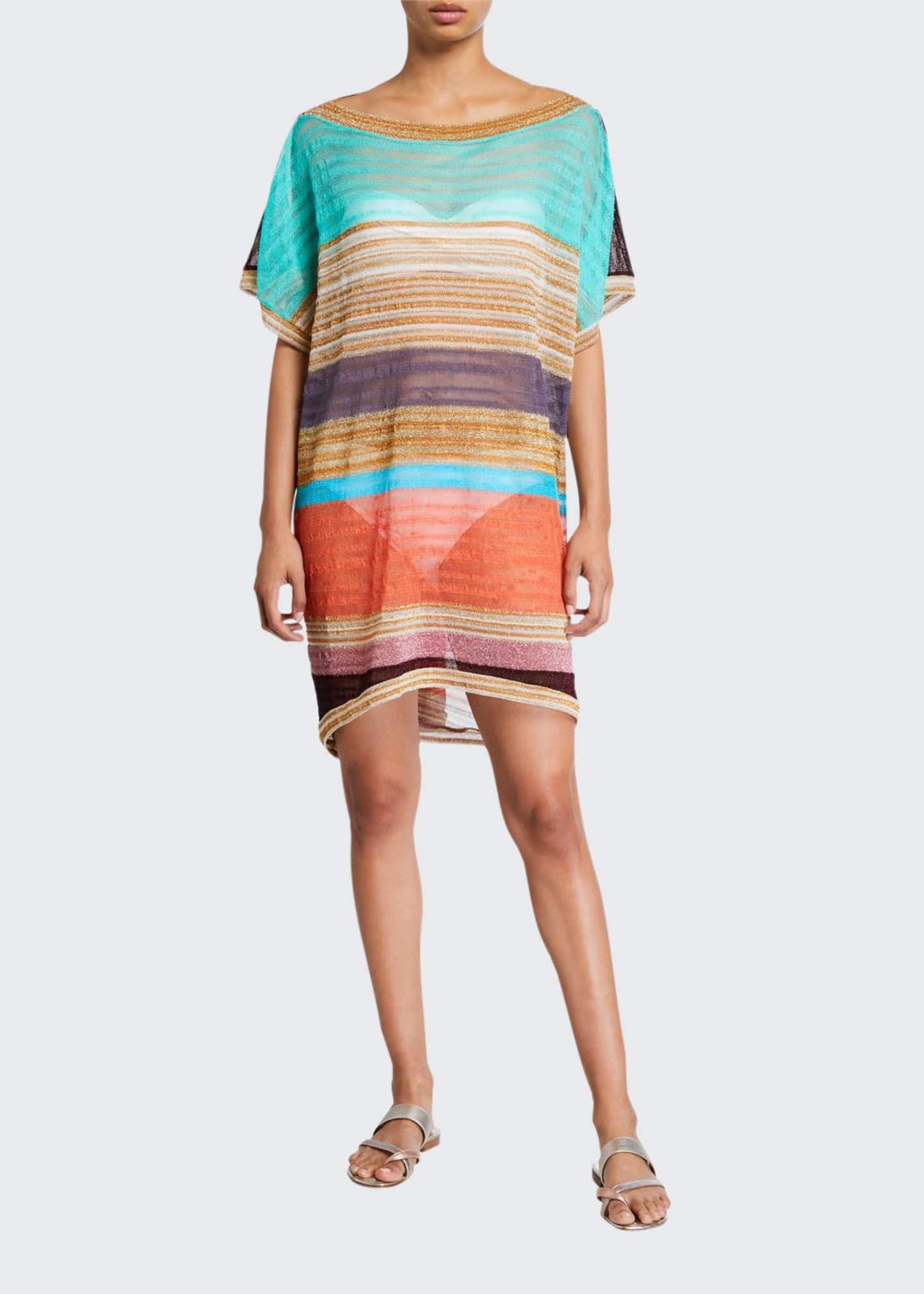 Image 1 of 2: Striped Boat-Neck Short Coverup Caftan