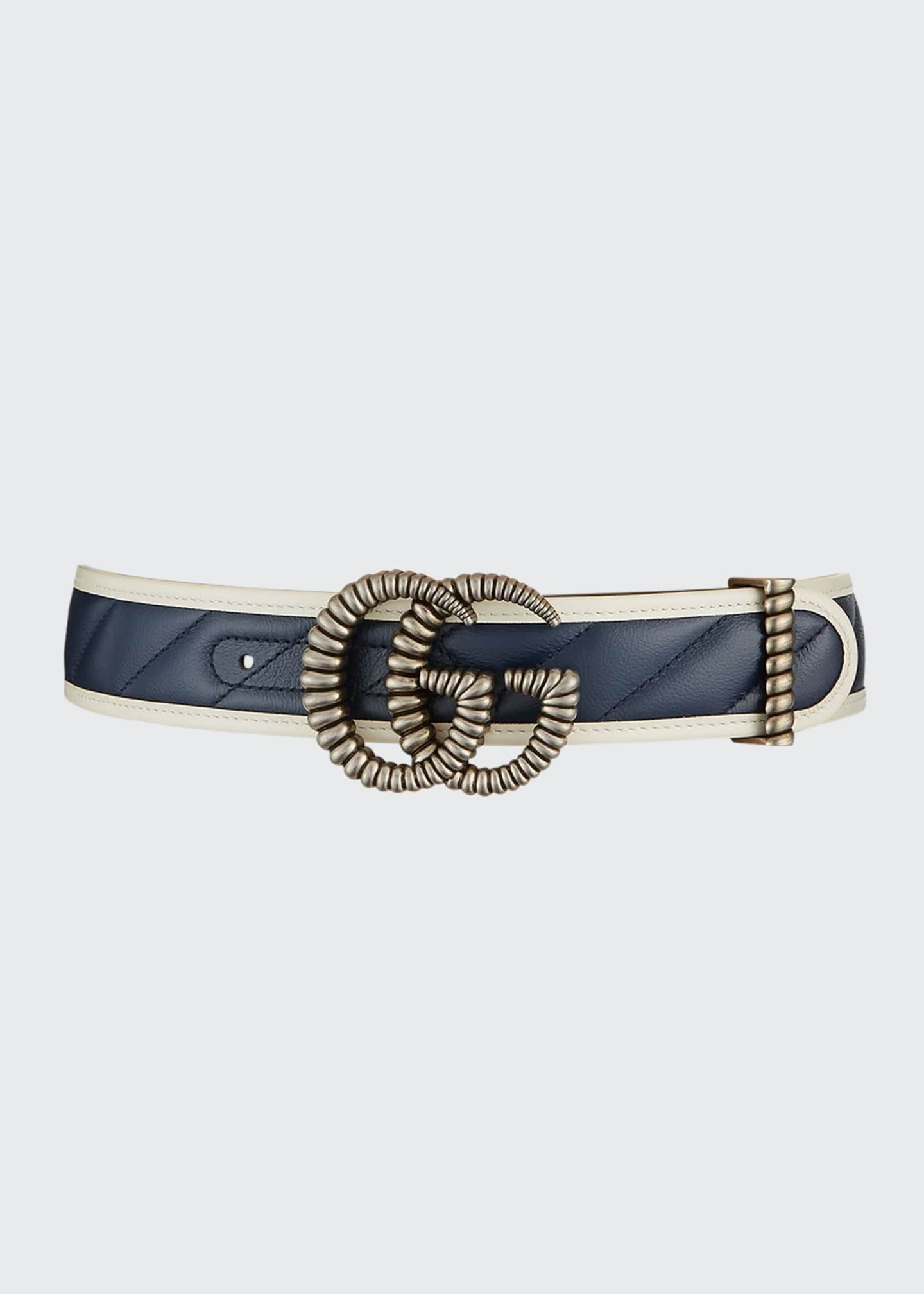 Image 1 of 1: GG Marmont Diagonal Quilted Leather Belt w/ Torchon Double G Buckle