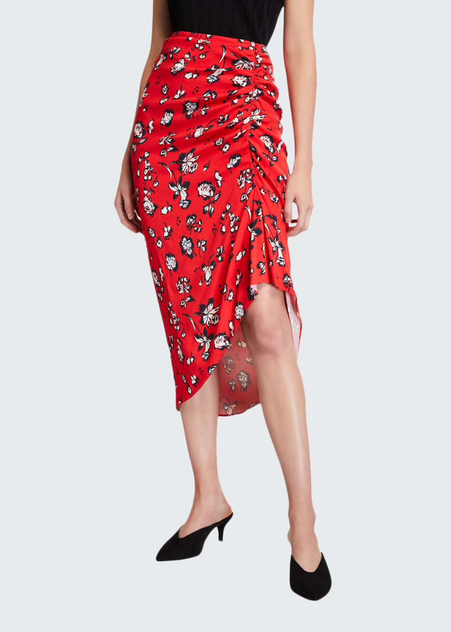 Image 1 of 3: Cheryl Floral Ruched Asymmetric Skirt