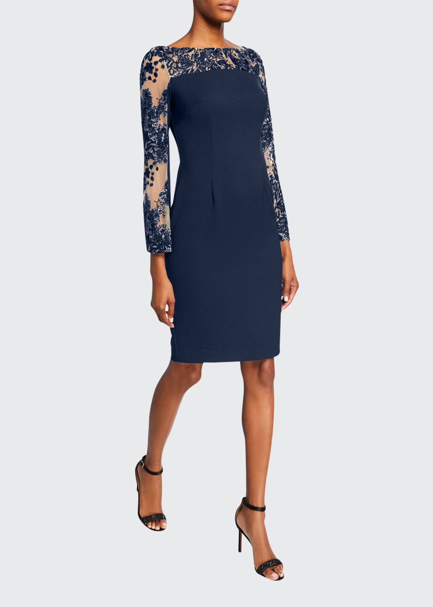 Carmen Marc Valvo Infusion Sequin Crepe Sheath Dress