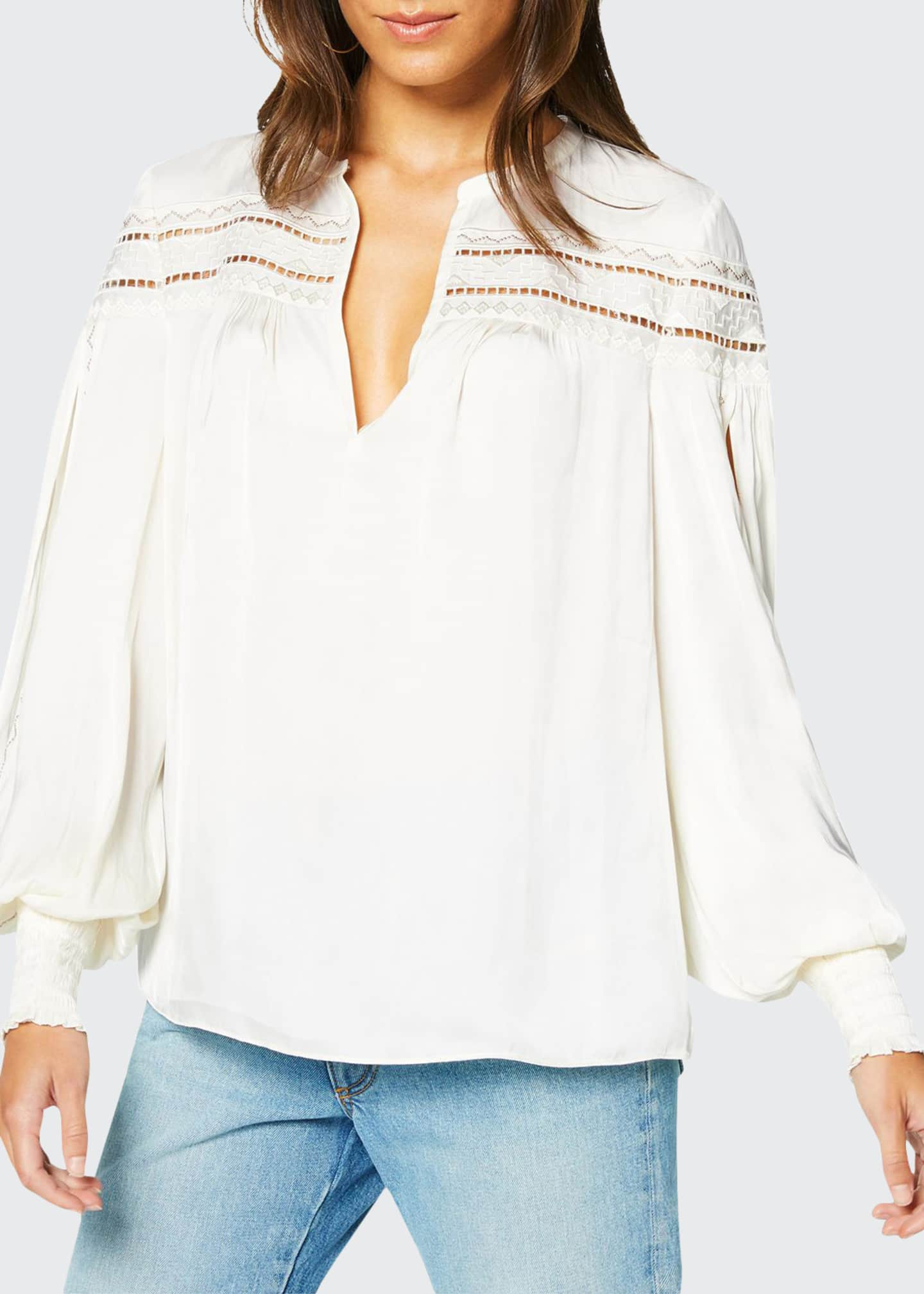 Image 1 of 3: Maisy Ladder-Stitched Peasant Top