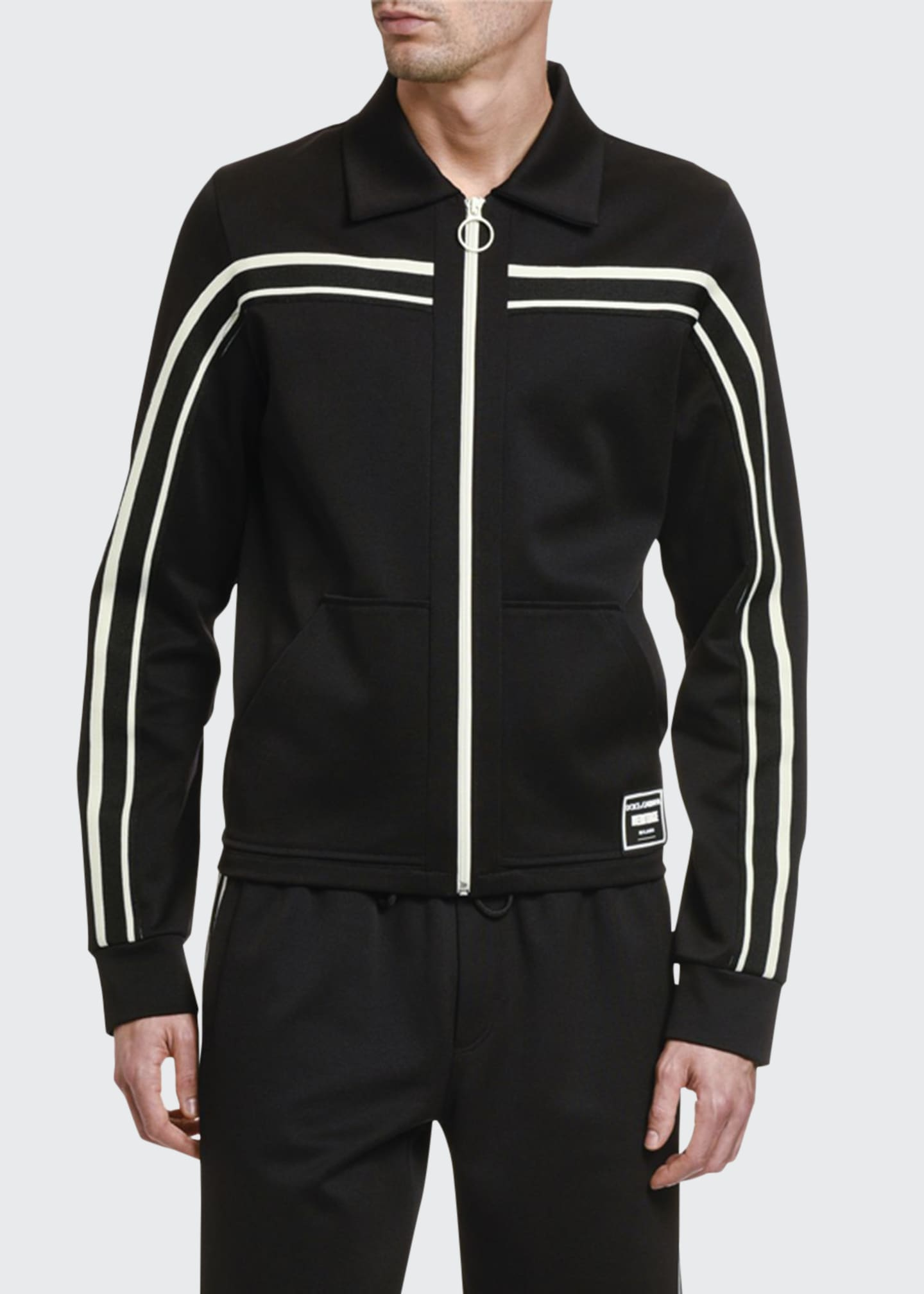 Image 1 of 2: Men's Retro Contrast-Stripe Track Jacket