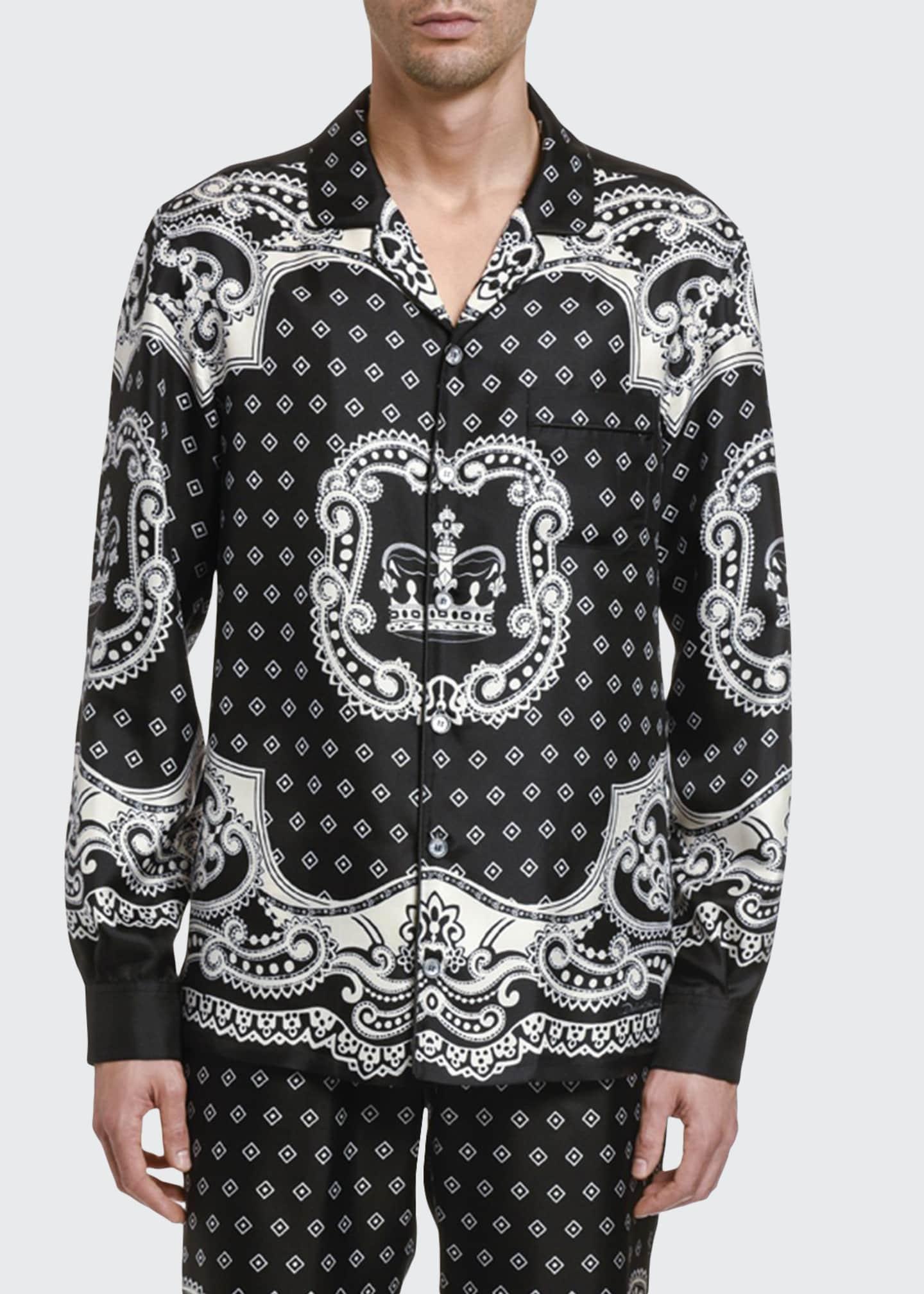 Dolce & Gabbana Men's Bandana Long-Sleeve Silk Shirt
